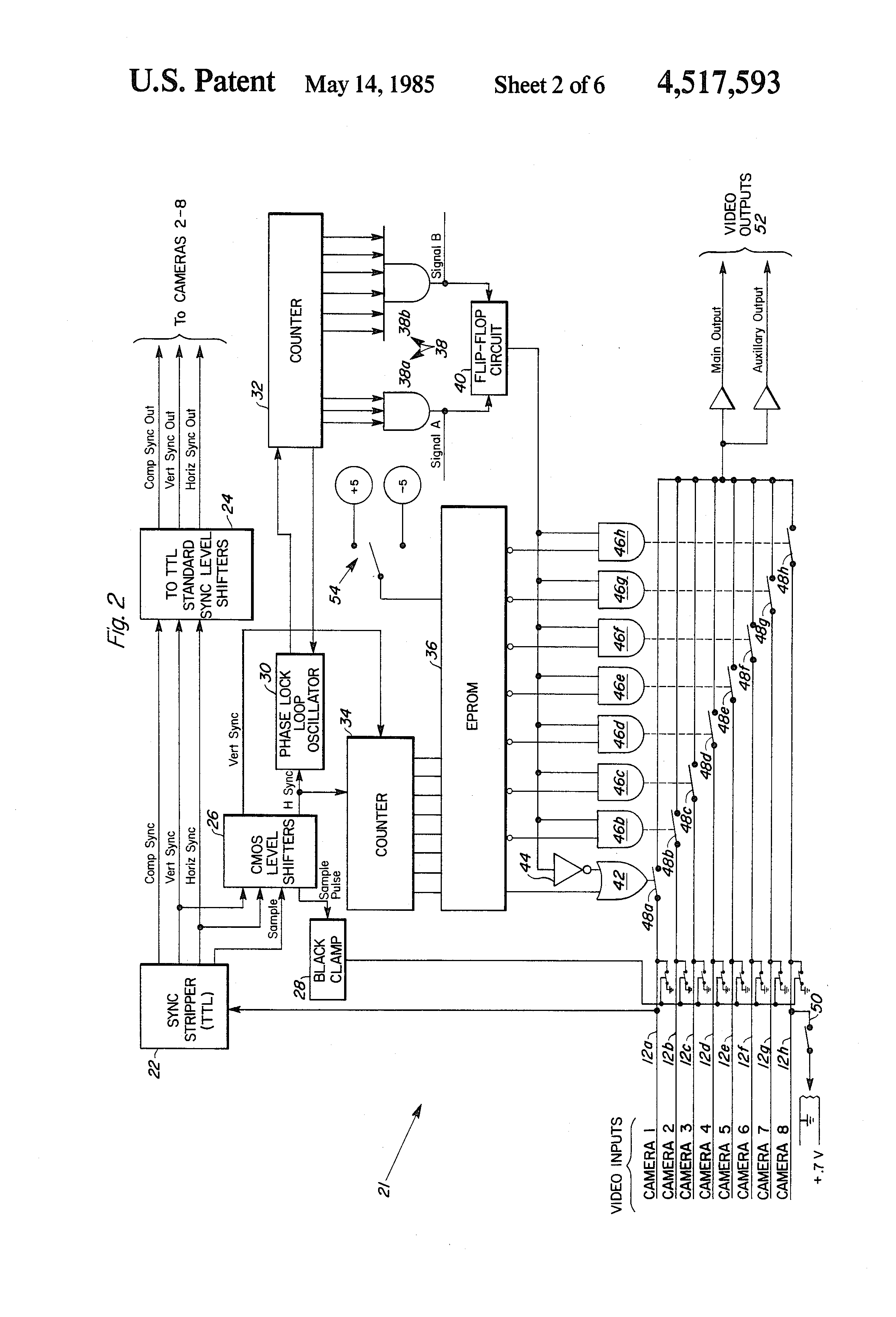 Patent Us4517593 Video Multiplexer Google Patents Cmos Ttl Inverter Oscillator Drawing