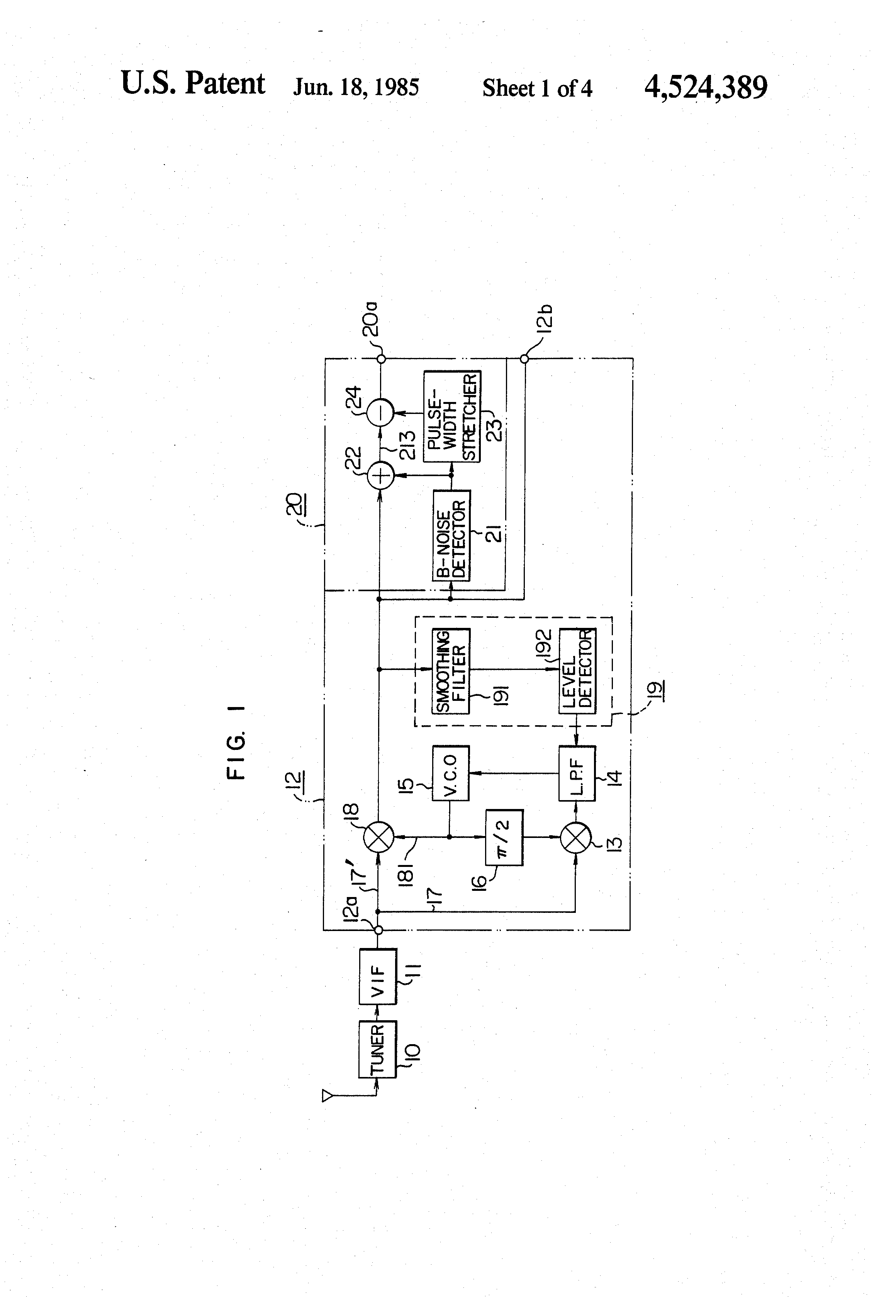 US4524389 1 patent us4524389 synchronous video detector circuit using phase