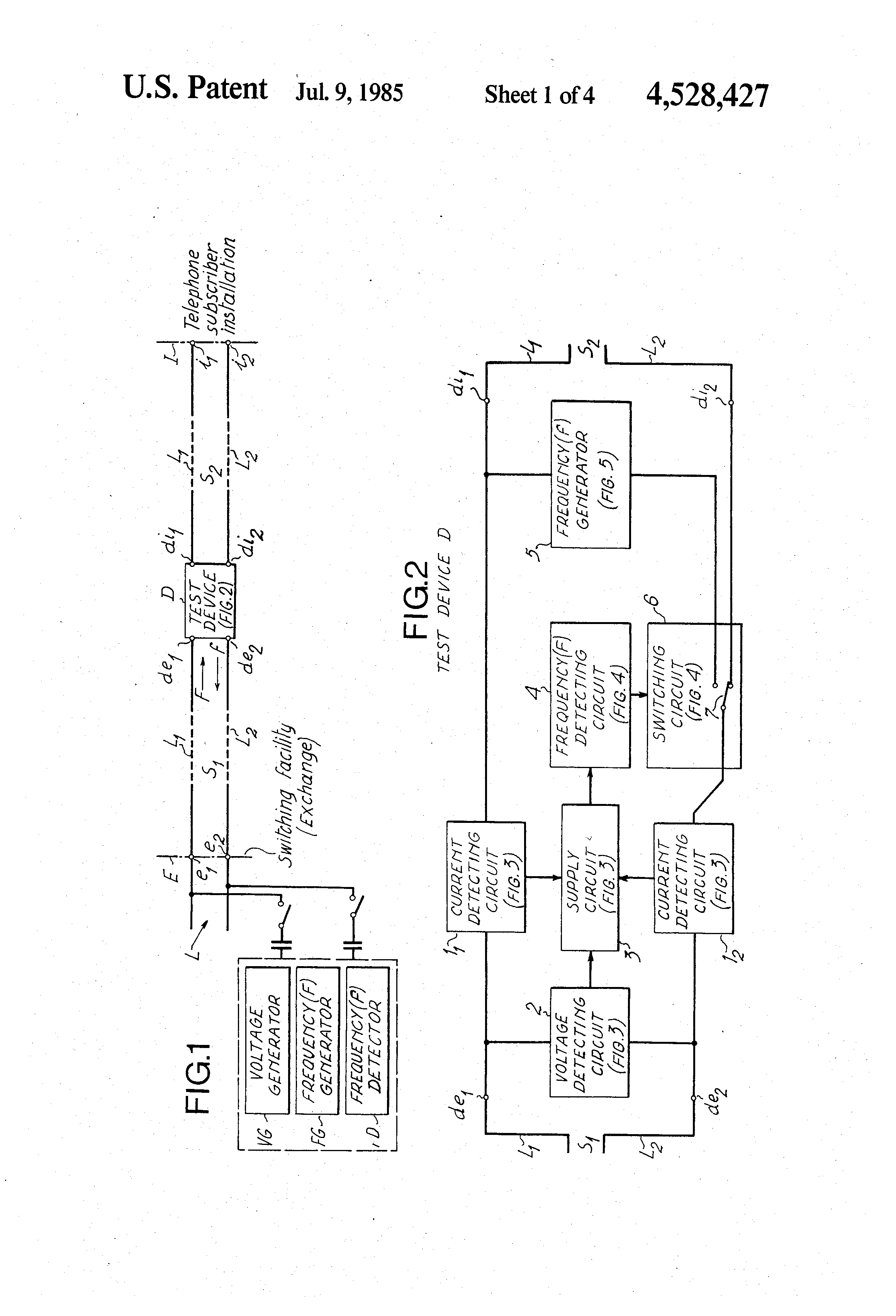 Patent Us4528427 Test System And Device For Locating Short Generator Circuit Drawing