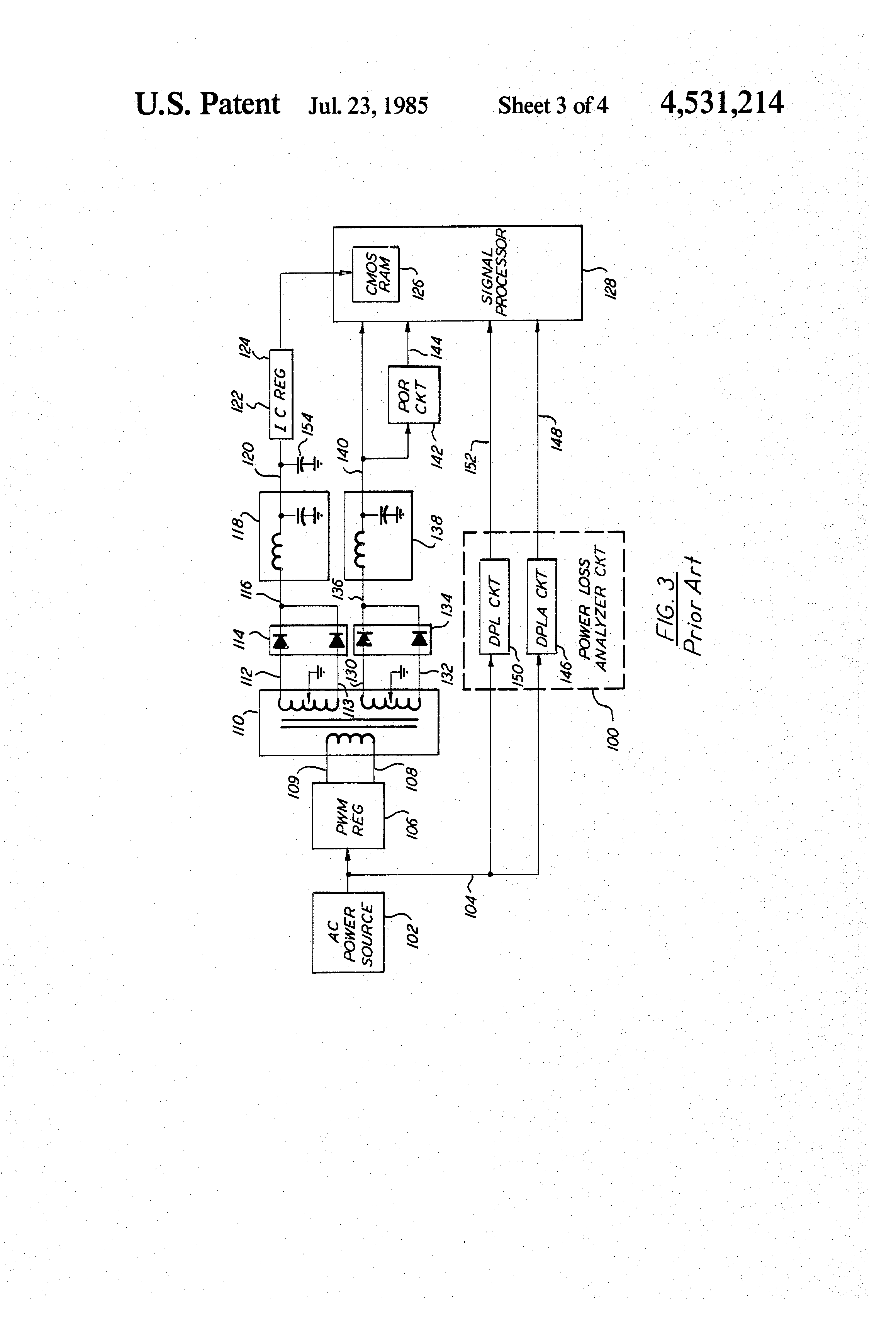 patent us4531214 - power loss analyzer circuit