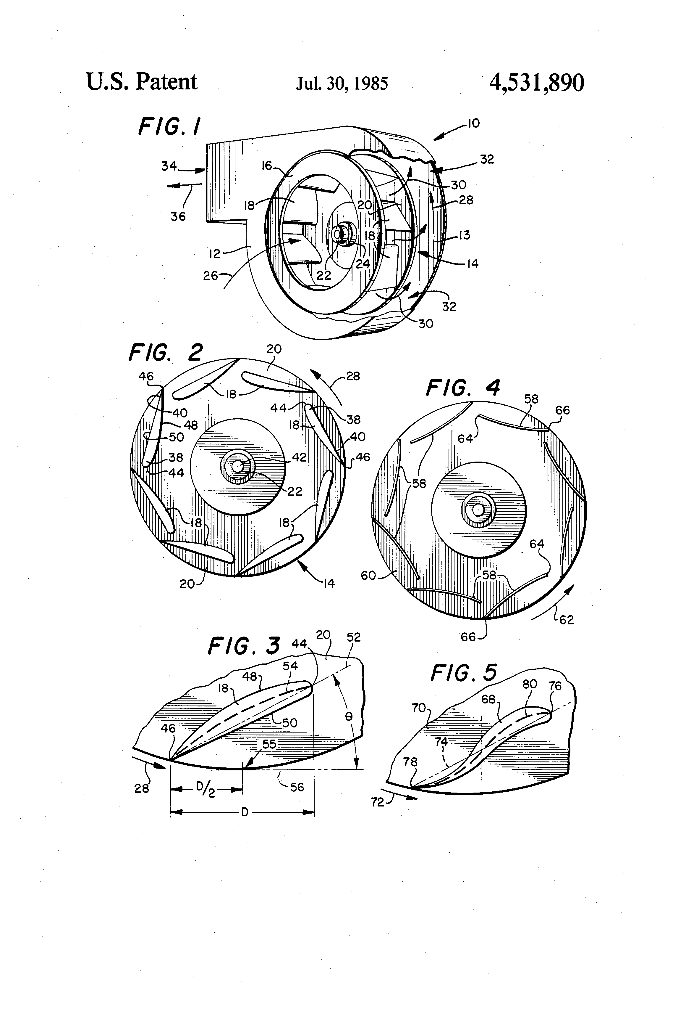 Patent US4531890 Centrifugal fan impeller   Patents #393939