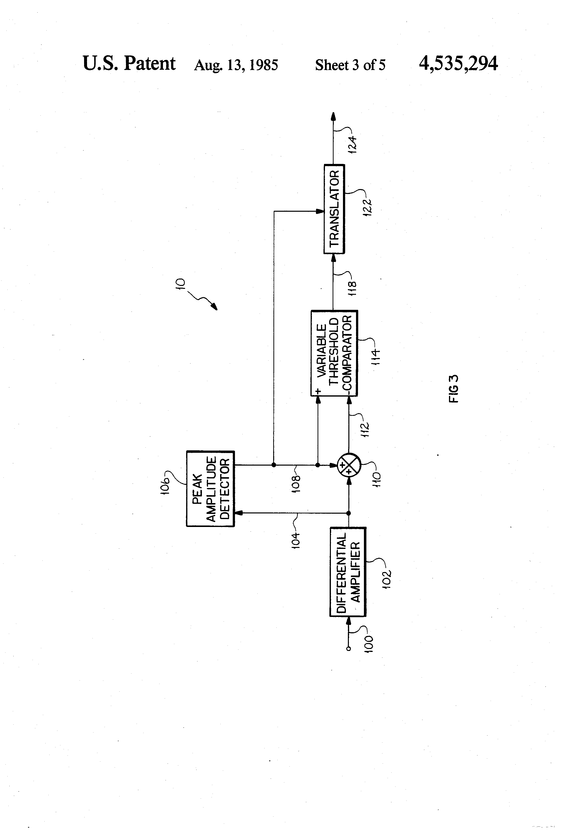 Patent Us4535294 Differential Receiver With Self Adaptive Figure 5 Comparator Circuit Hysteresis Drawing
