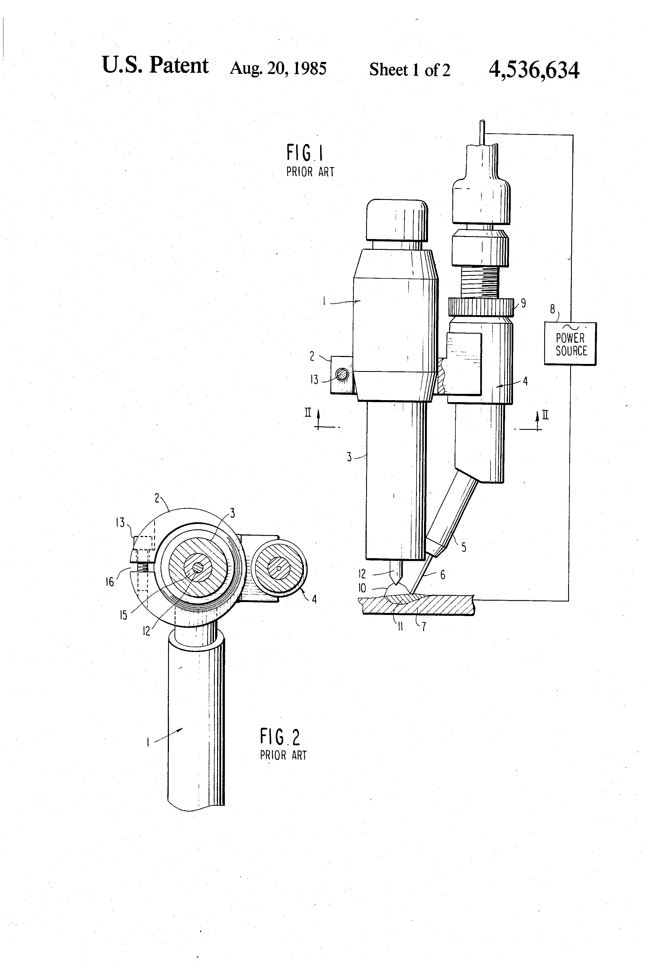Patent Us4536634 Hot Wire Arc Welding Torch Assembly Google Patents Diagram Of Drawing