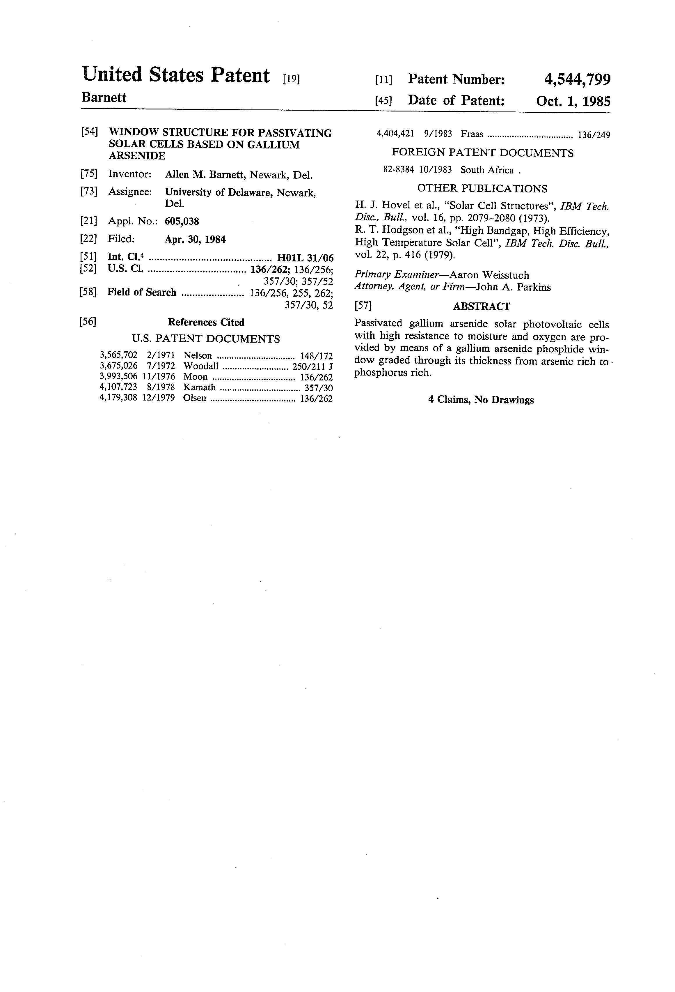 Patent Us4544799 Window Structure For Passivating Solar Cells Gallium Arsenide Gaas Doping Process Drawing