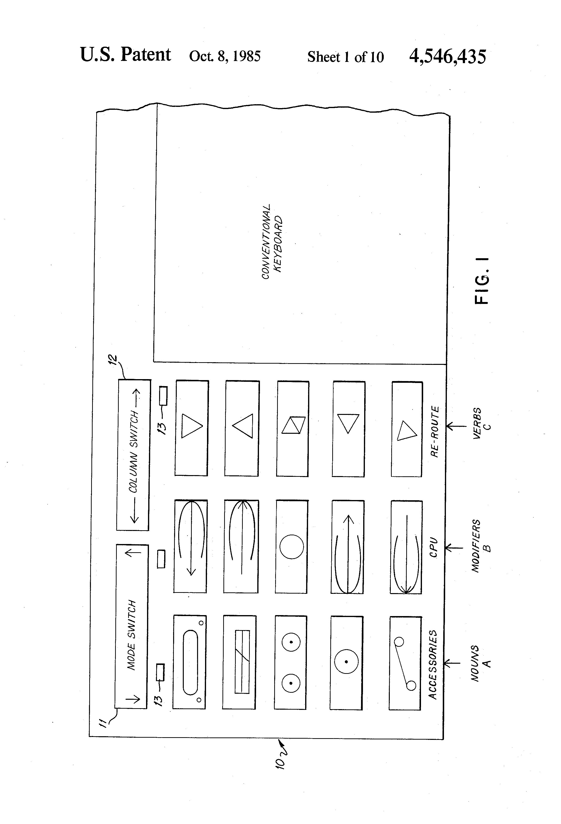 patent us4546435 graphic computer system and keyboard google patents