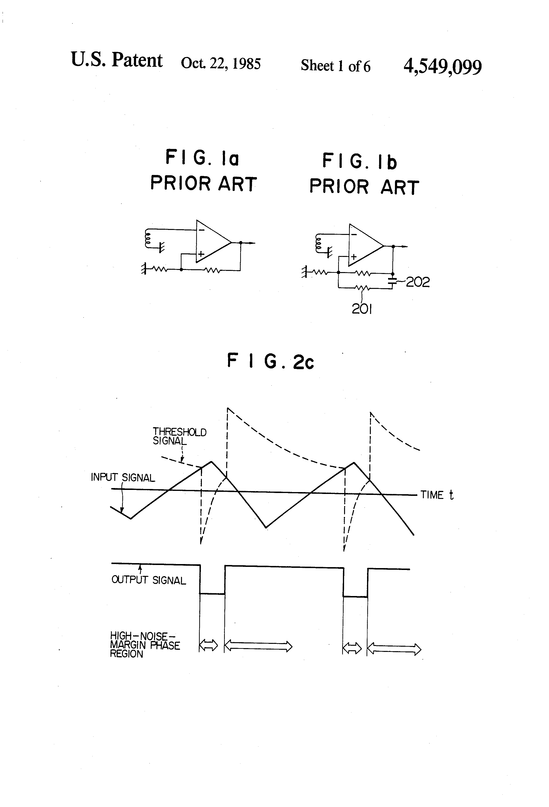 Patent Us4549099 Periodic Signal Detecting Circuit Including Links Voltage Comparator Op Amp Drawing
