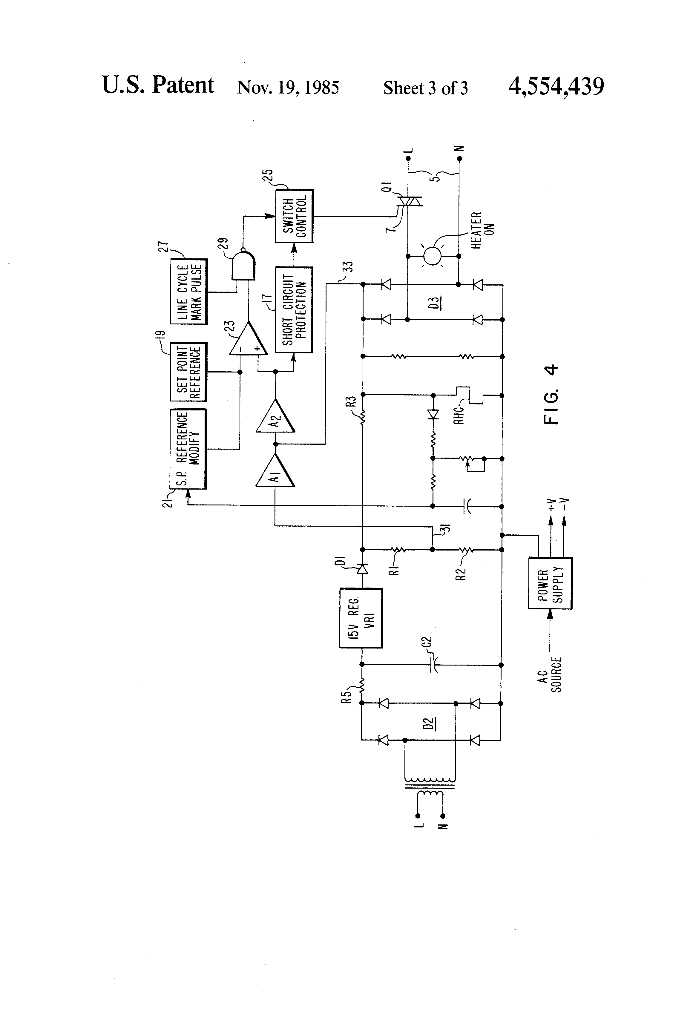 patent us4554439 two wire heater regulator control Home Electrical Wiring Circuits Circuit Breaker Box Wiring