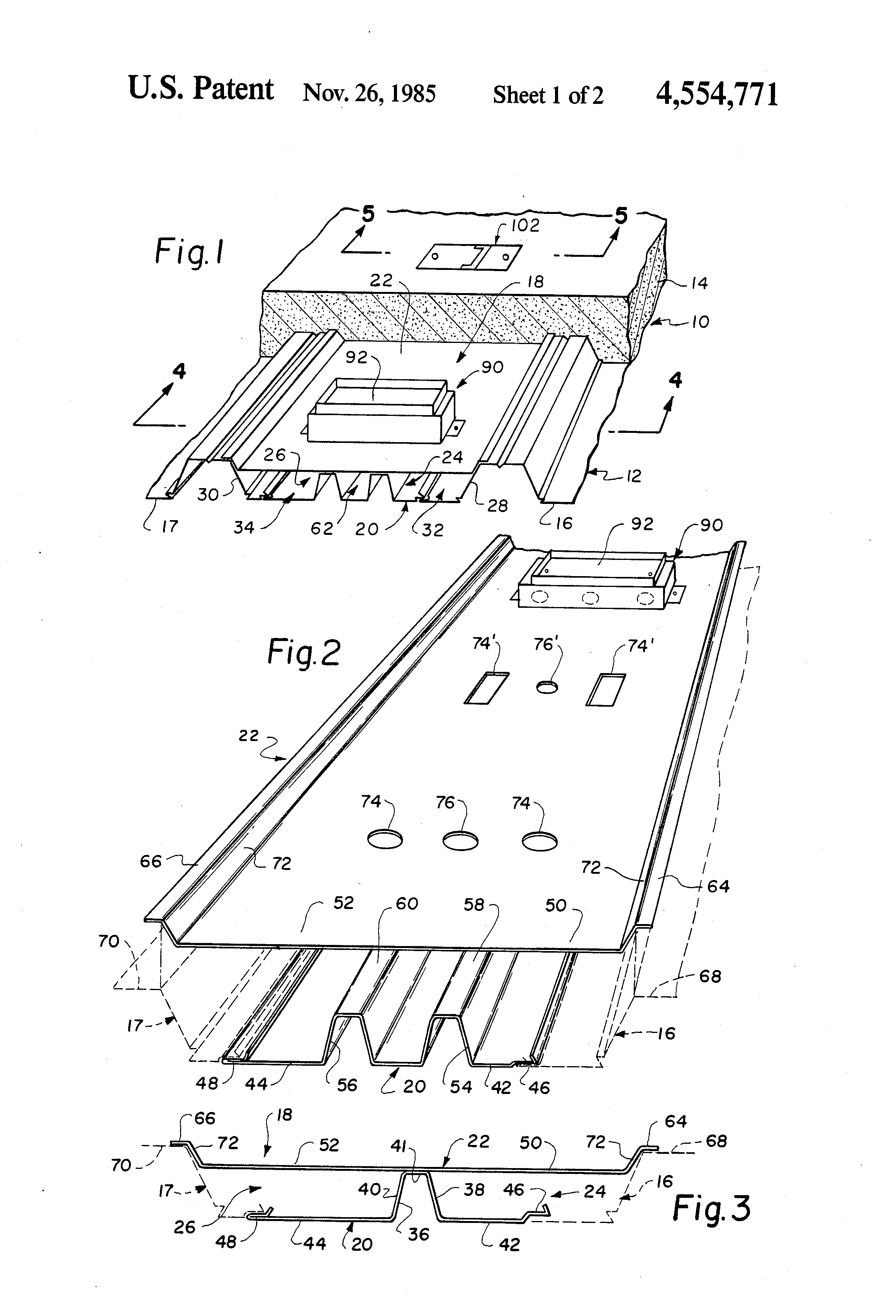 patent us4554771 - field-assembled cellular decking unit