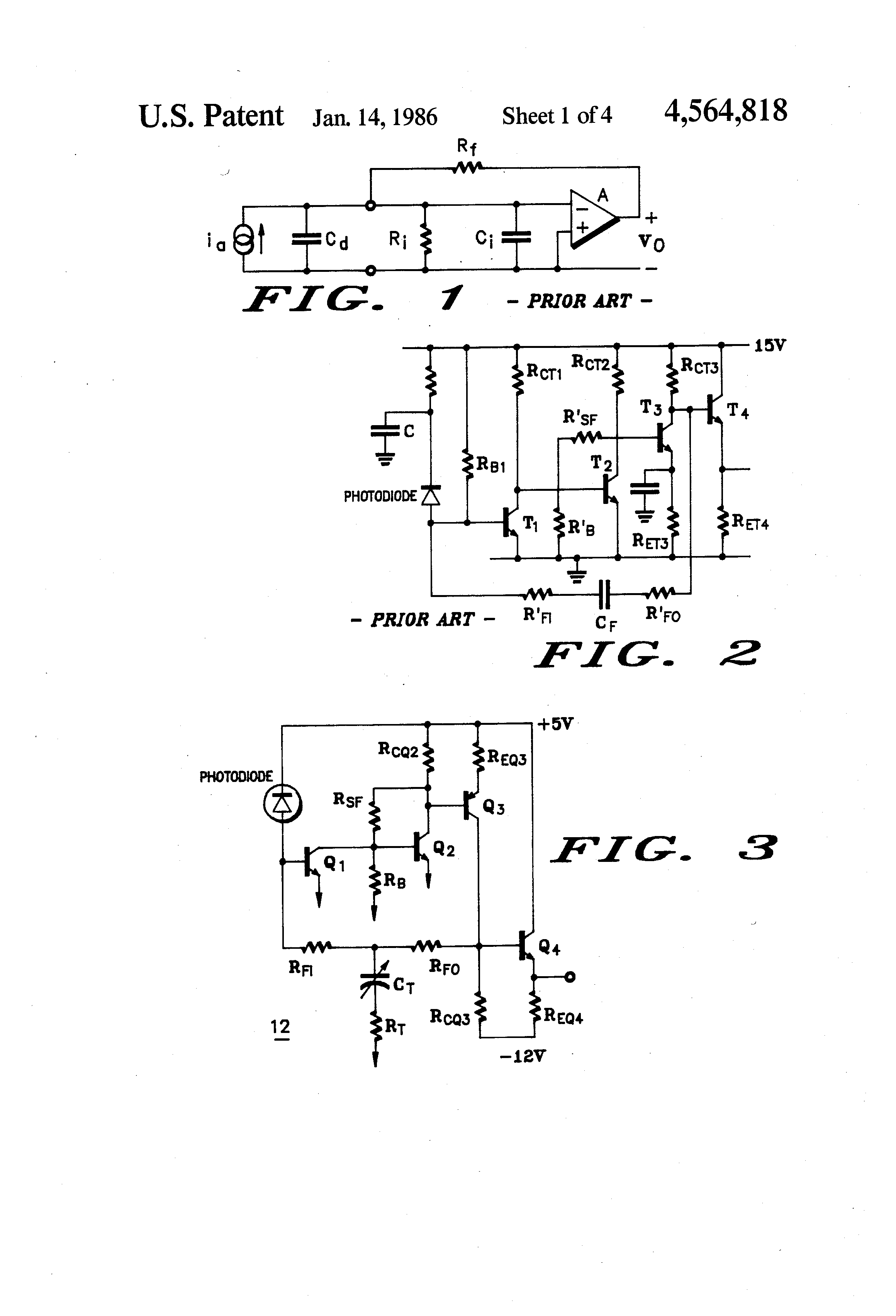 Patent Us4564818 Transimpedance Amplifier Having An Improved Gain Detector Circuit With Resistor Feedback Drawing