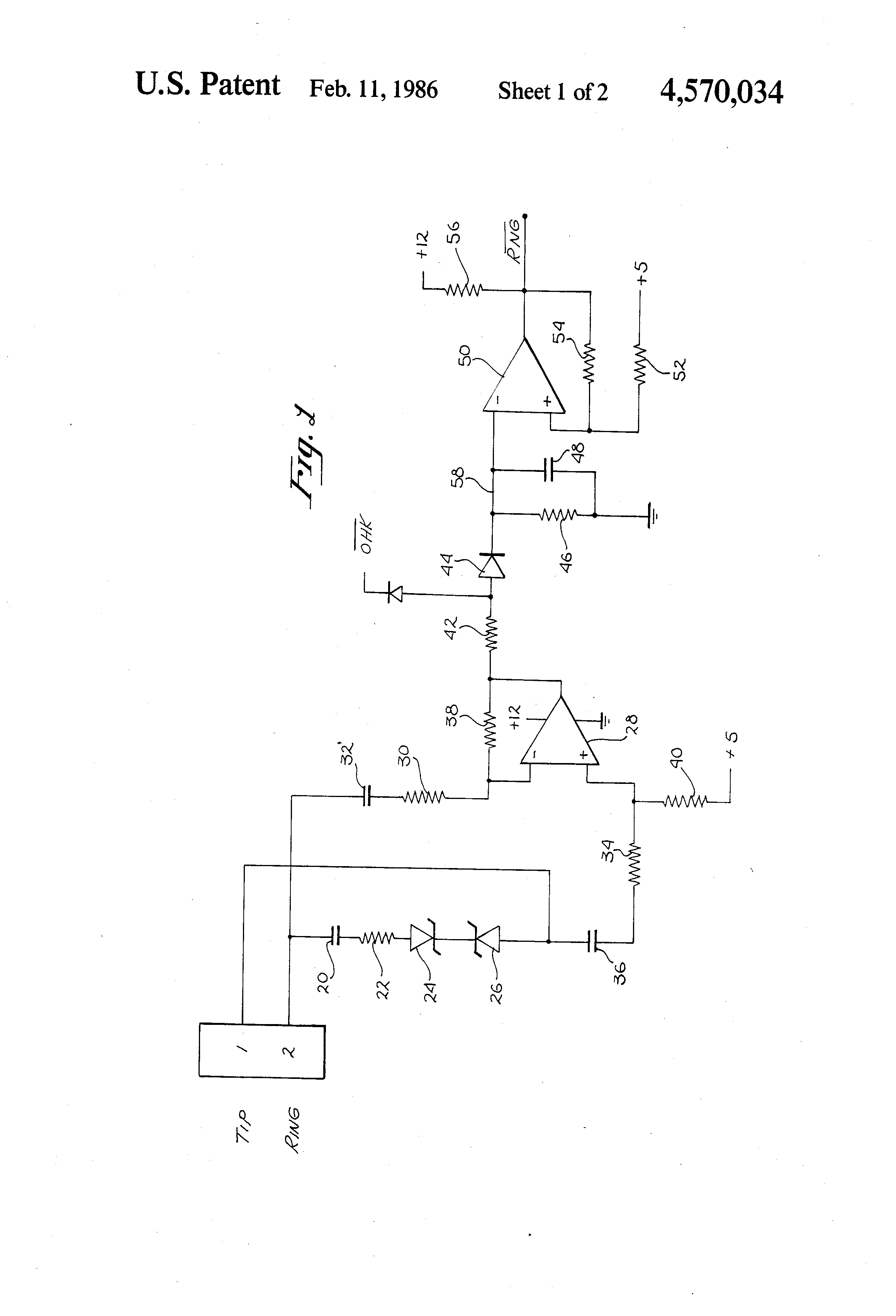 Patent Us4570034 Phone Line Ring Signal Detection Circuit Google Telecom Hybrid Circuits For Other Equipments Than Telephones Drawing