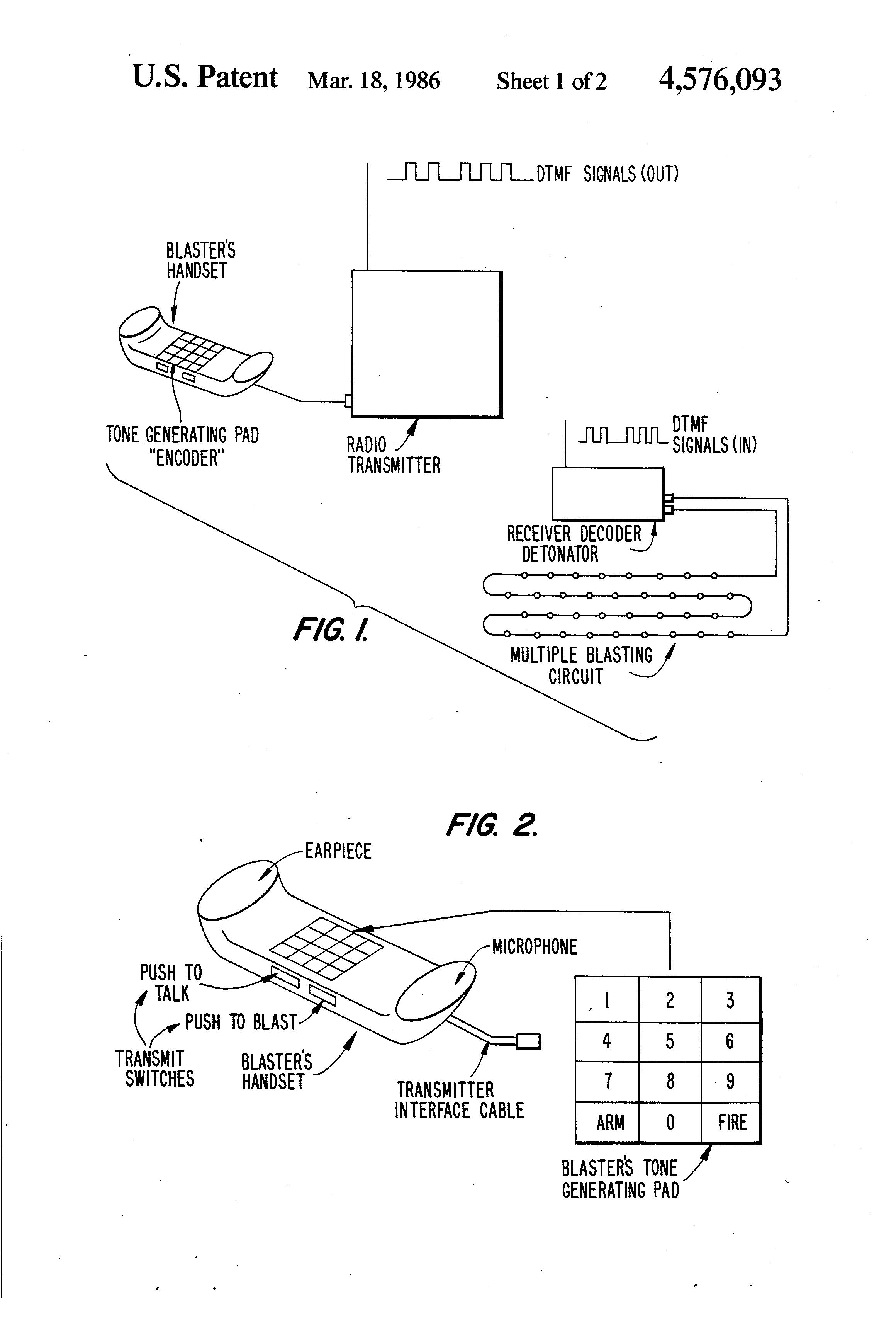 patent us4576093 - remote radio blasting