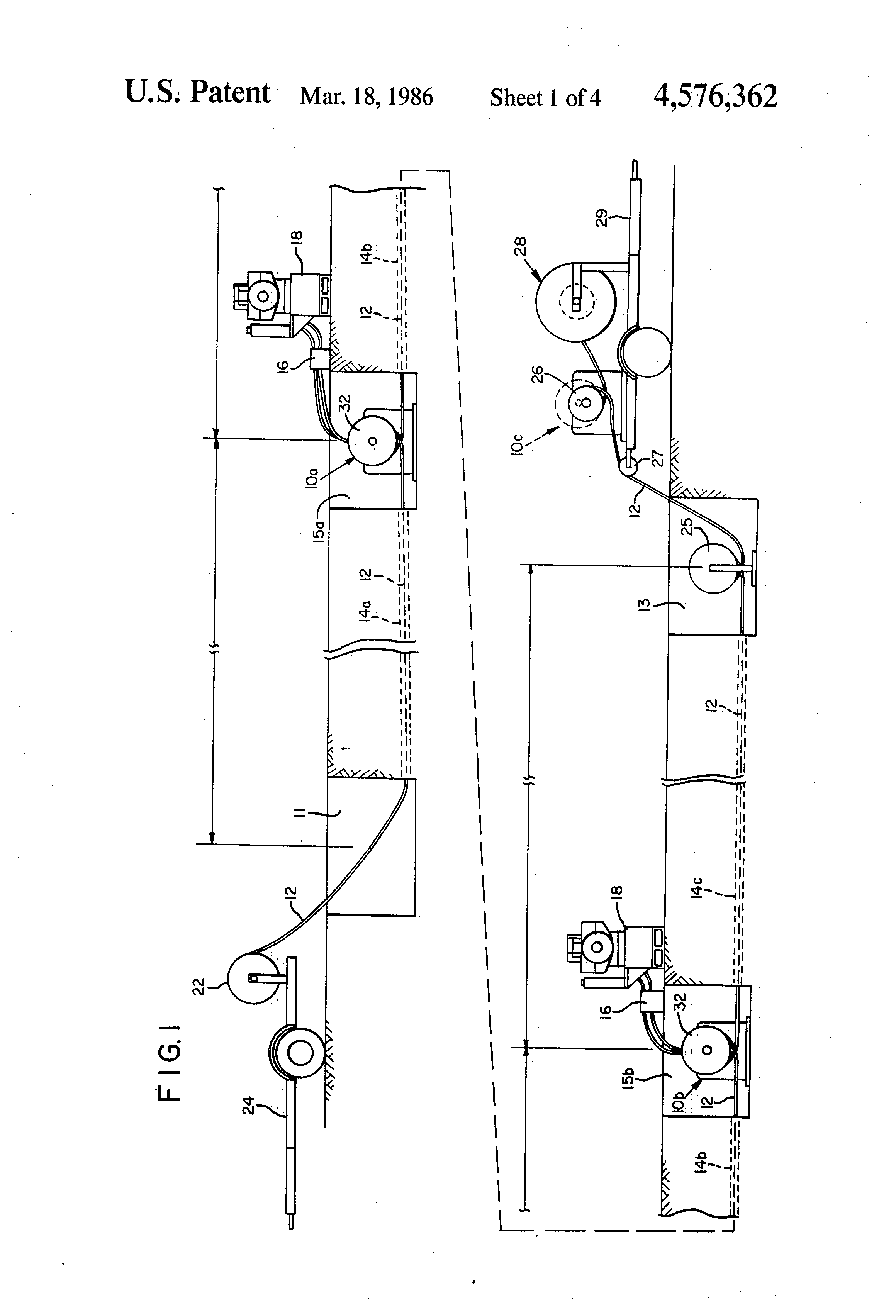 Brevet Us4576362 Method For Pulling Long Runs Of Fiber Optic Cable Schematic Patent Drawing