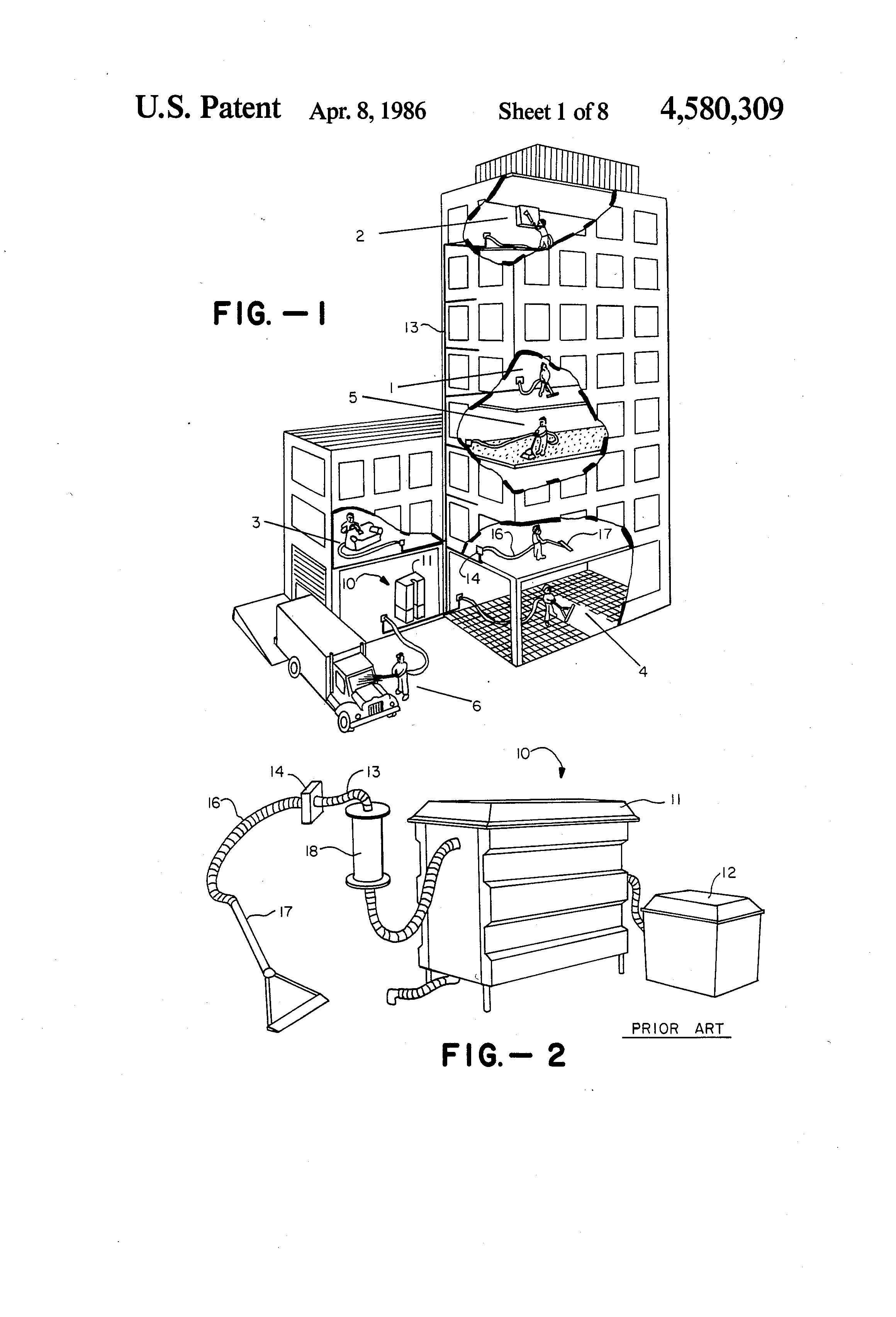 patent us4580309 self contained multi function cleaning system patent drawing