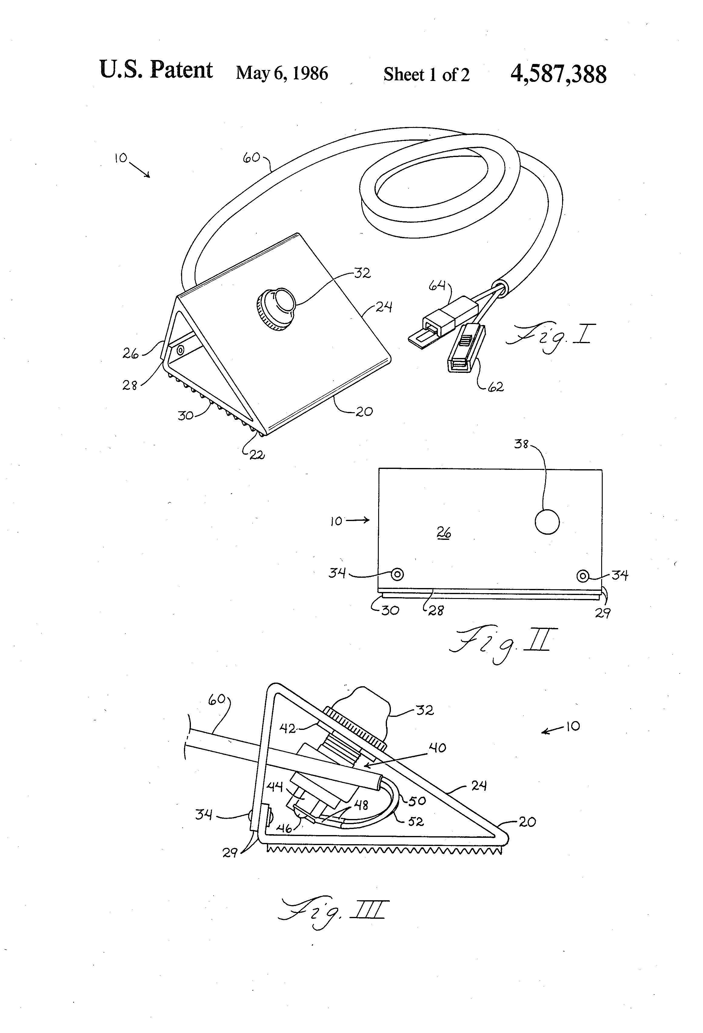 Patent us4587388 remote switching device for electric for Foot operated trolling motor
