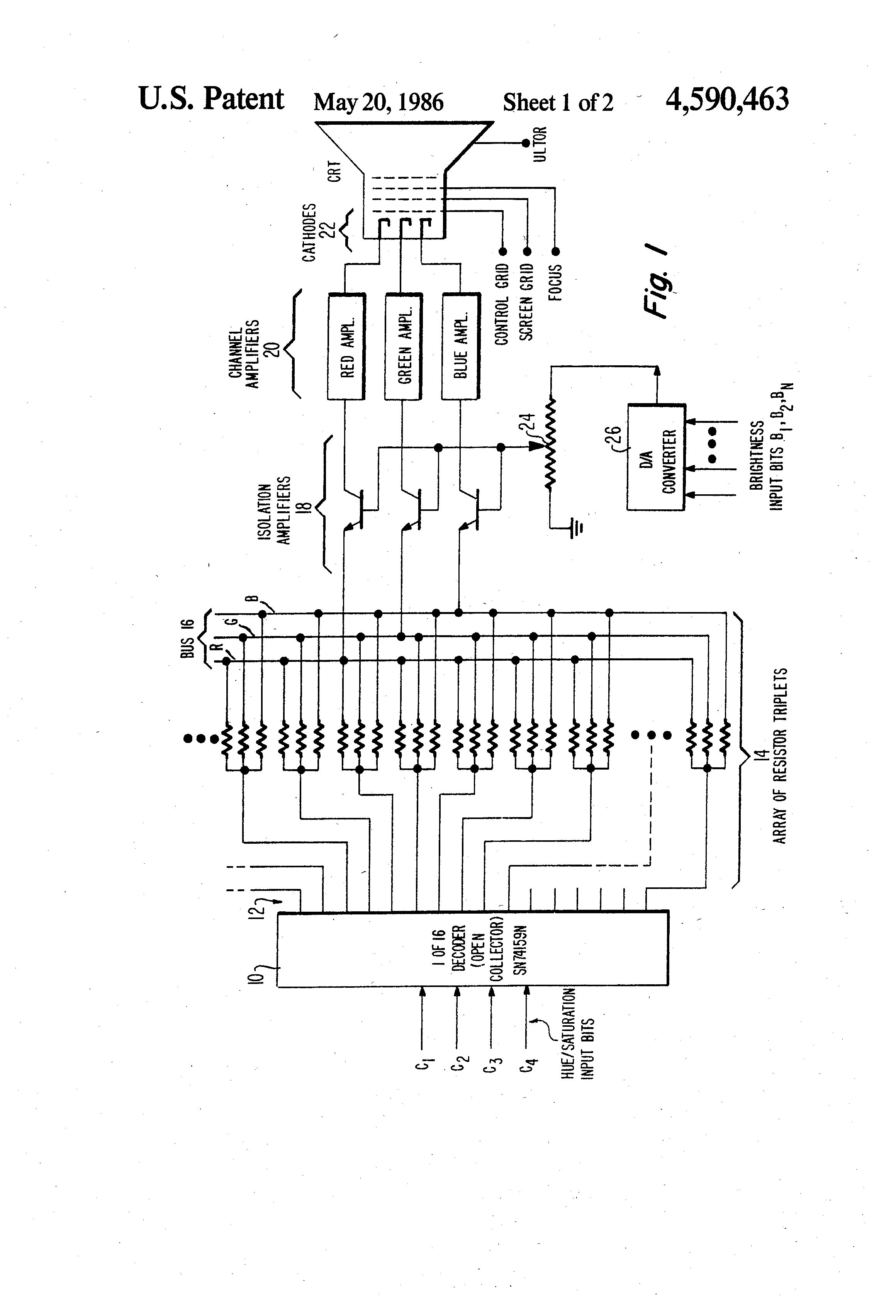patent us4590463 - digital control of color in crt display