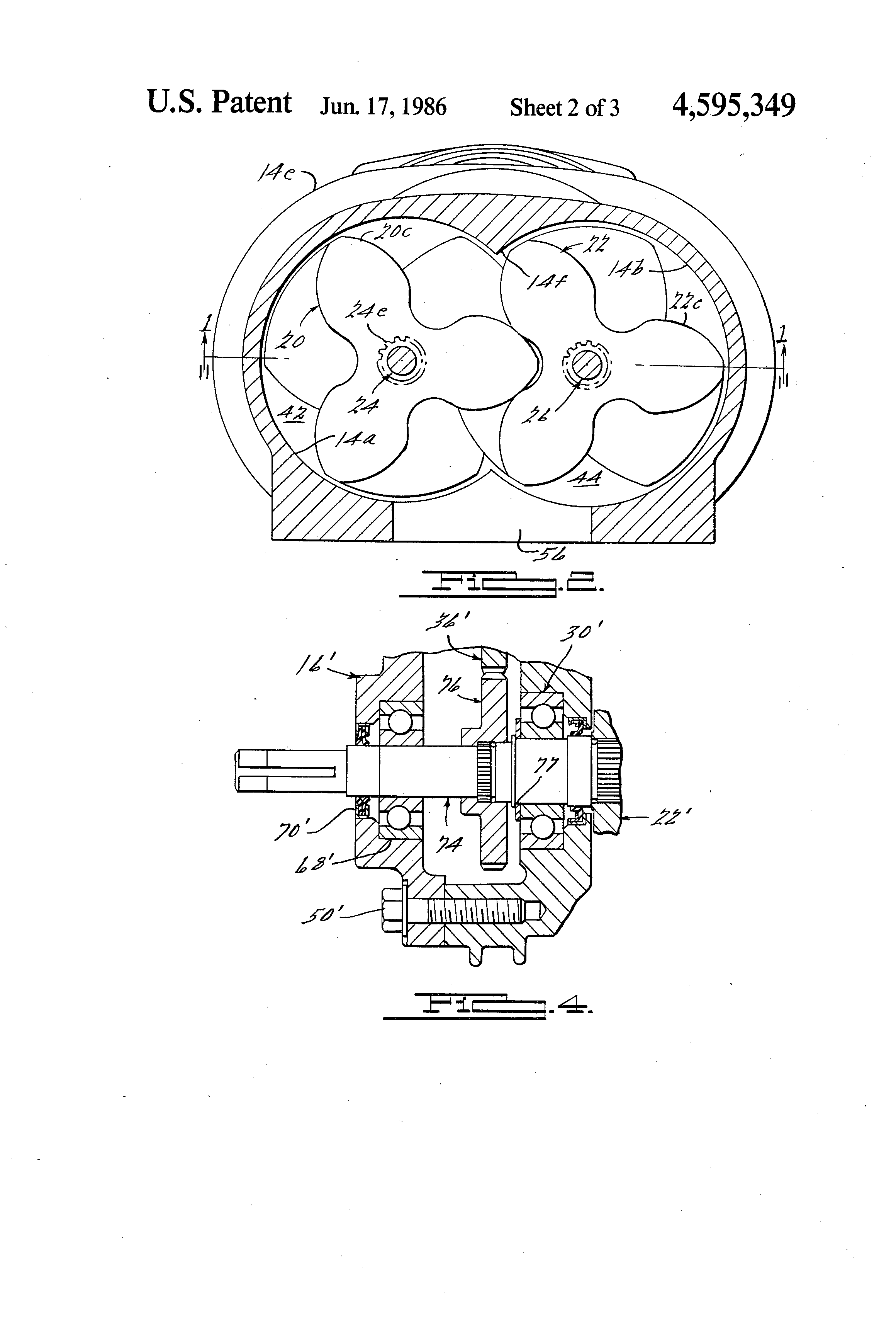 patent us4595349 - supercharger rotor  shaft  and gear arrangement