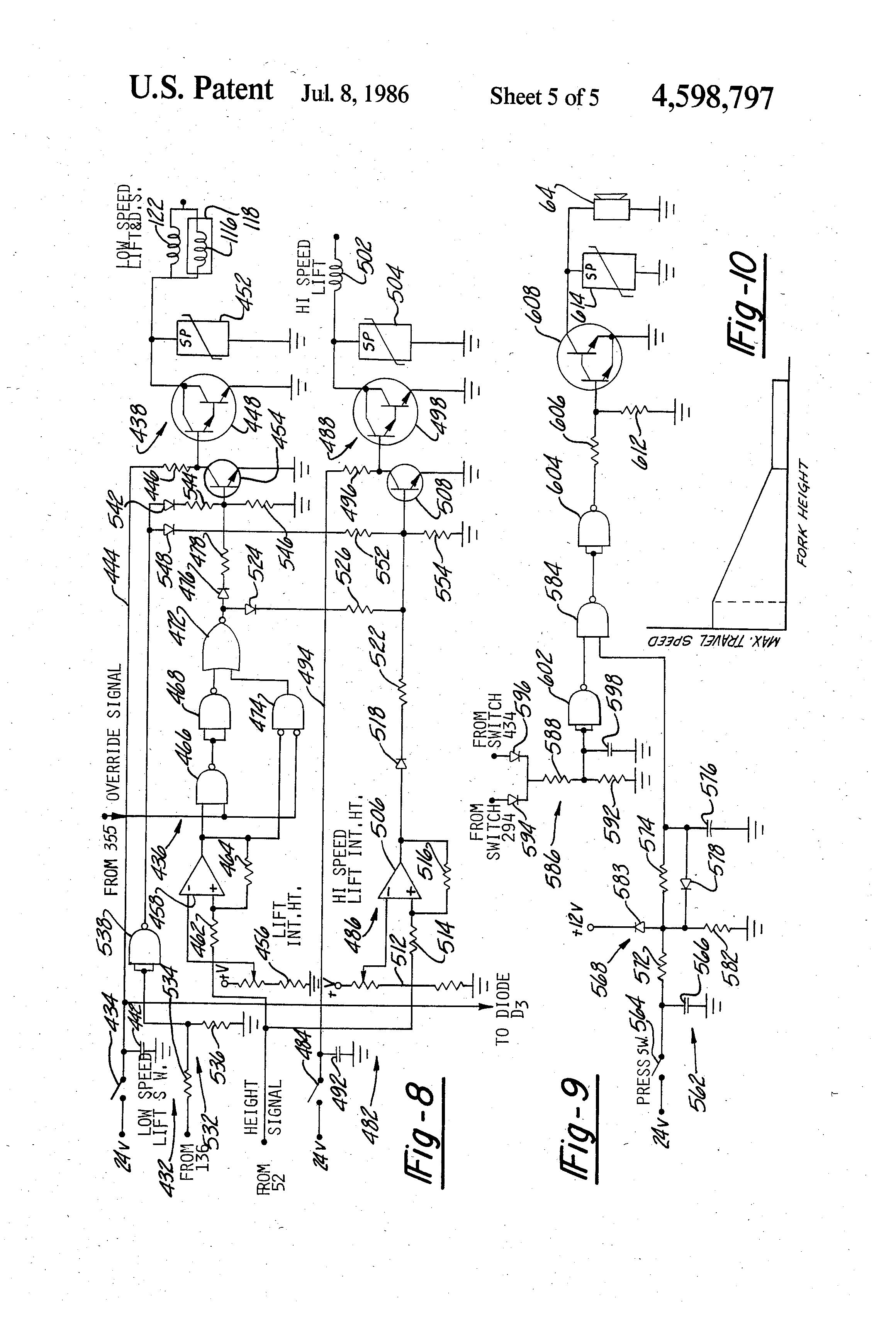 patent us4598797 - travel  lift inhibit control
