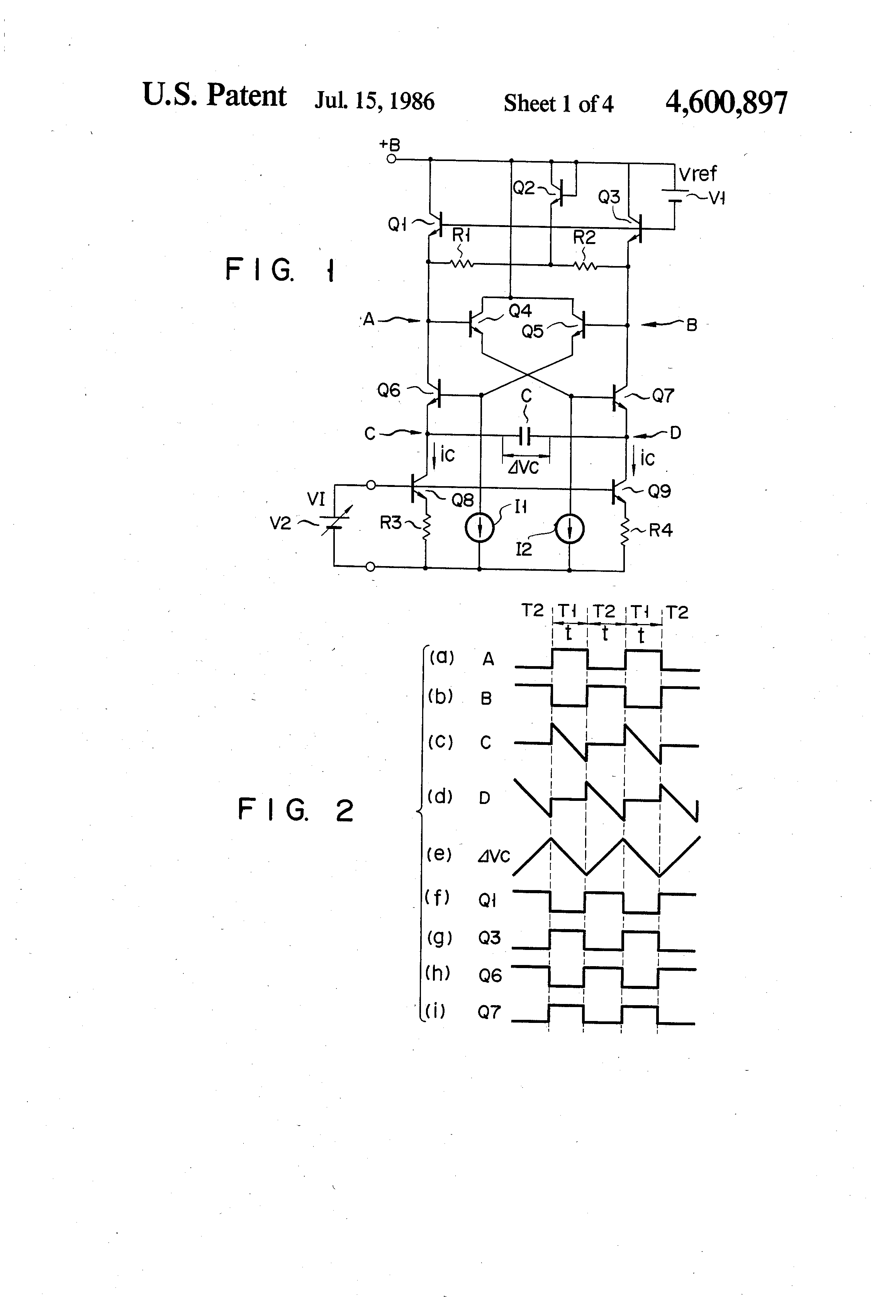Patent Us4600897 Voltage Controlled Oscillator Of Emitter Coupled Voltagecontrolled Vco Using The Timer 555 Is Shown In Drawing
