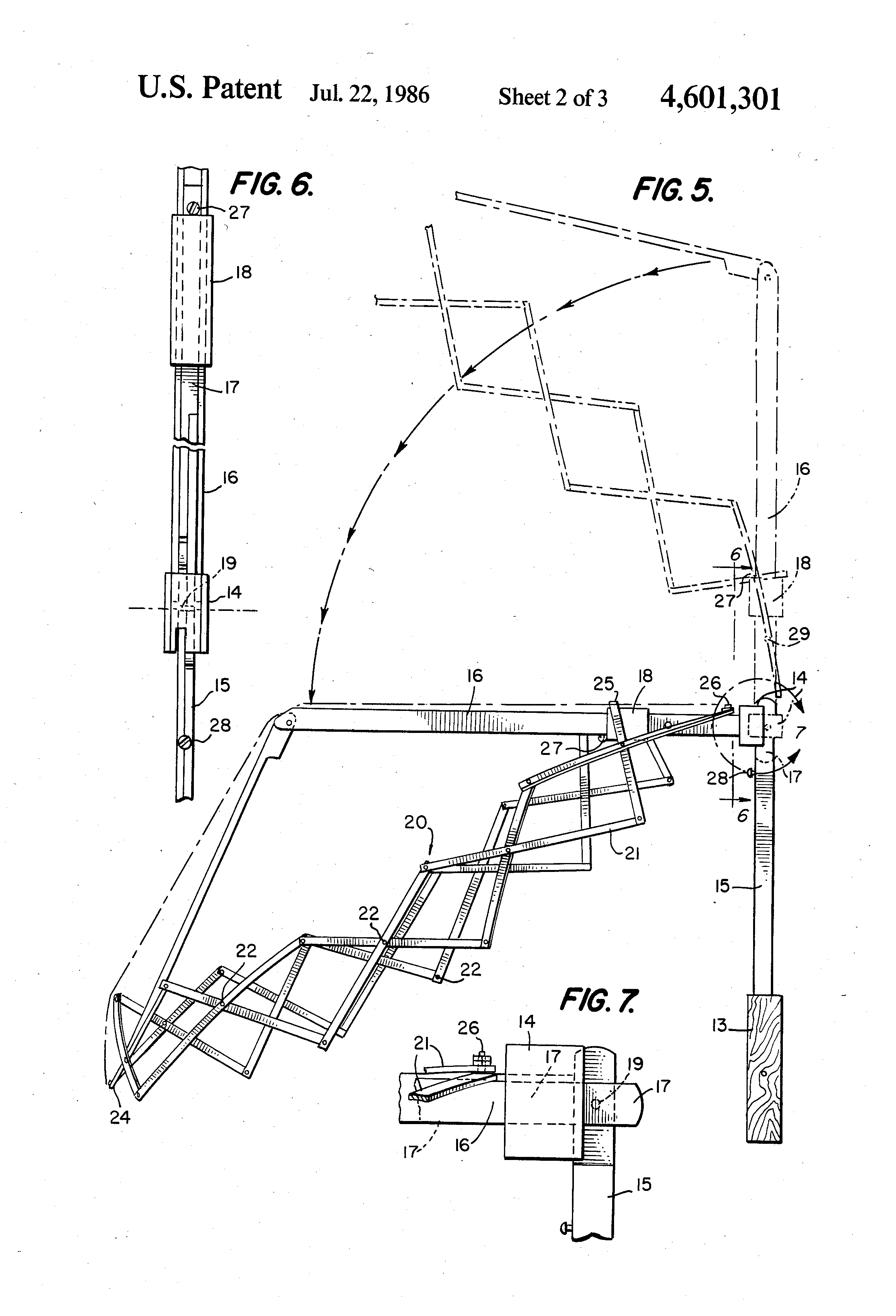 patent us4601301 - umbrella with lazy tong structure