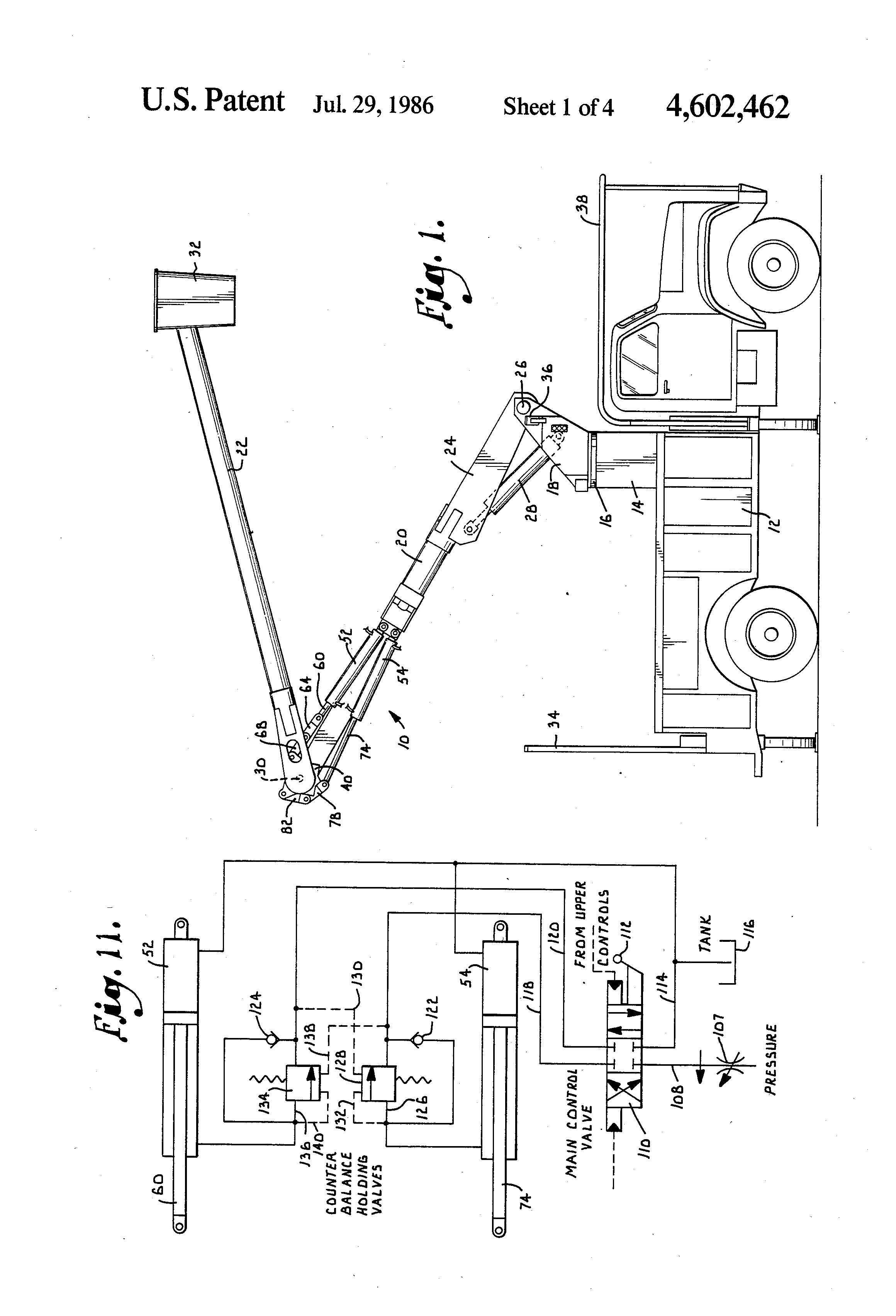 patent us4602462 boom articulating mechanism for aerial devices patents