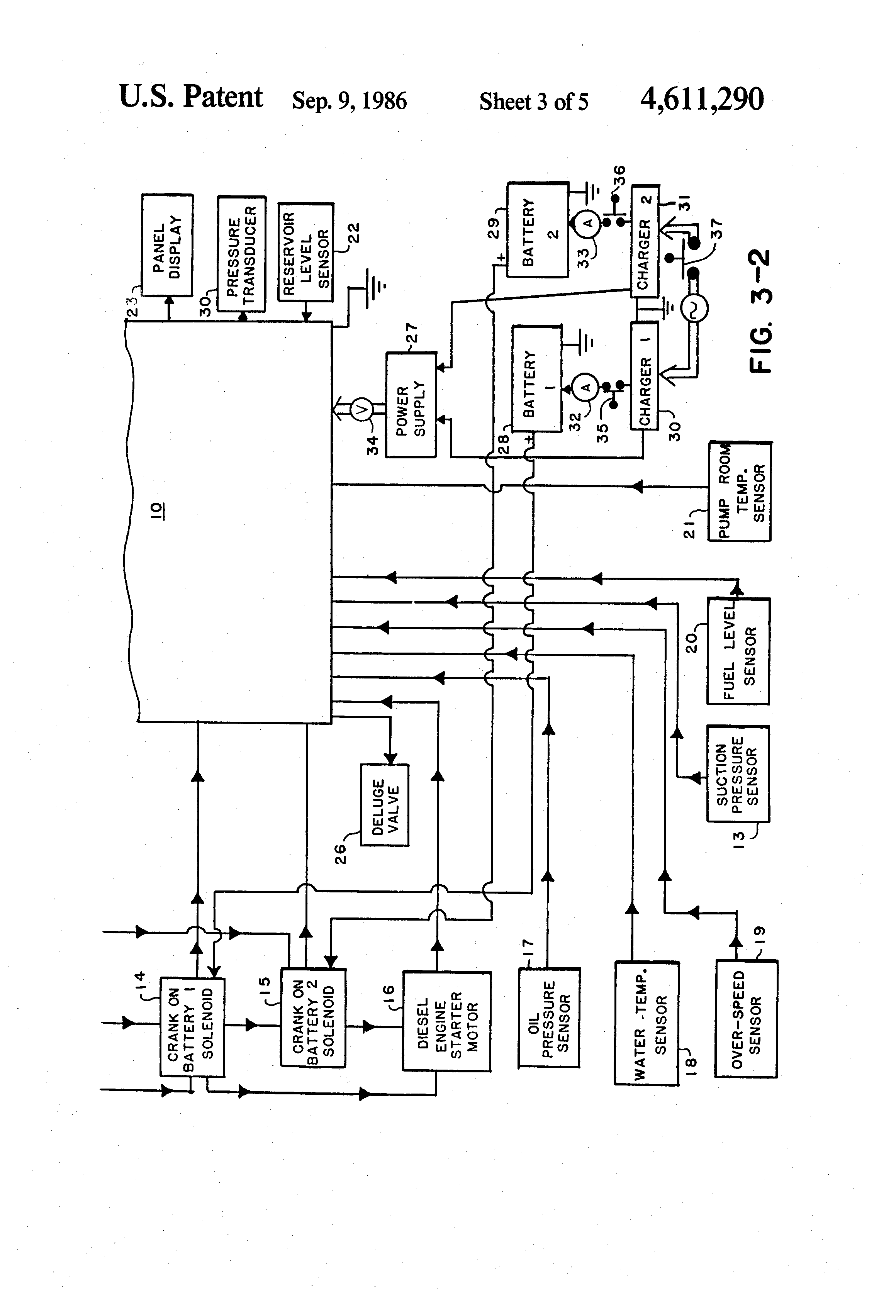 patent us4611290 computer controlled diesel engine fire pump patent drawing