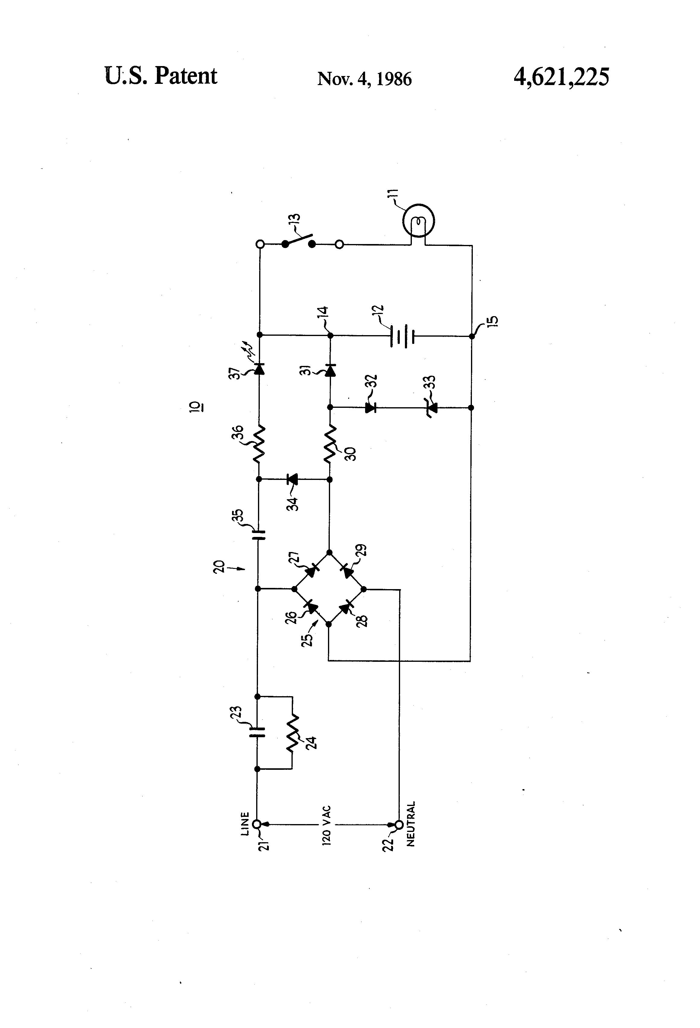 Patent Us4621225 Passive Transformerless Battery Charging Circuit Drawing