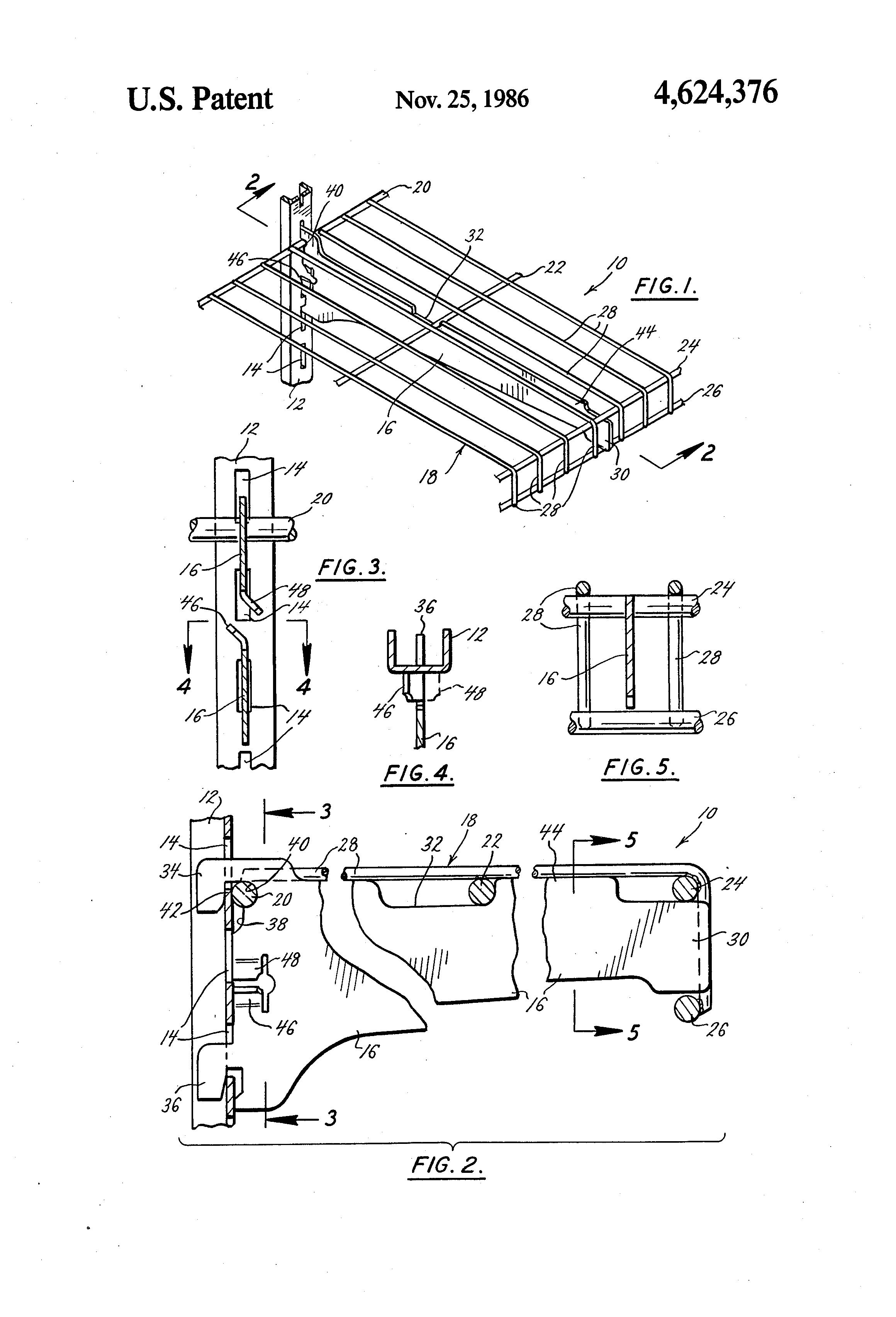 patent us4624376 adjustable wire shelf and bracket. Black Bedroom Furniture Sets. Home Design Ideas