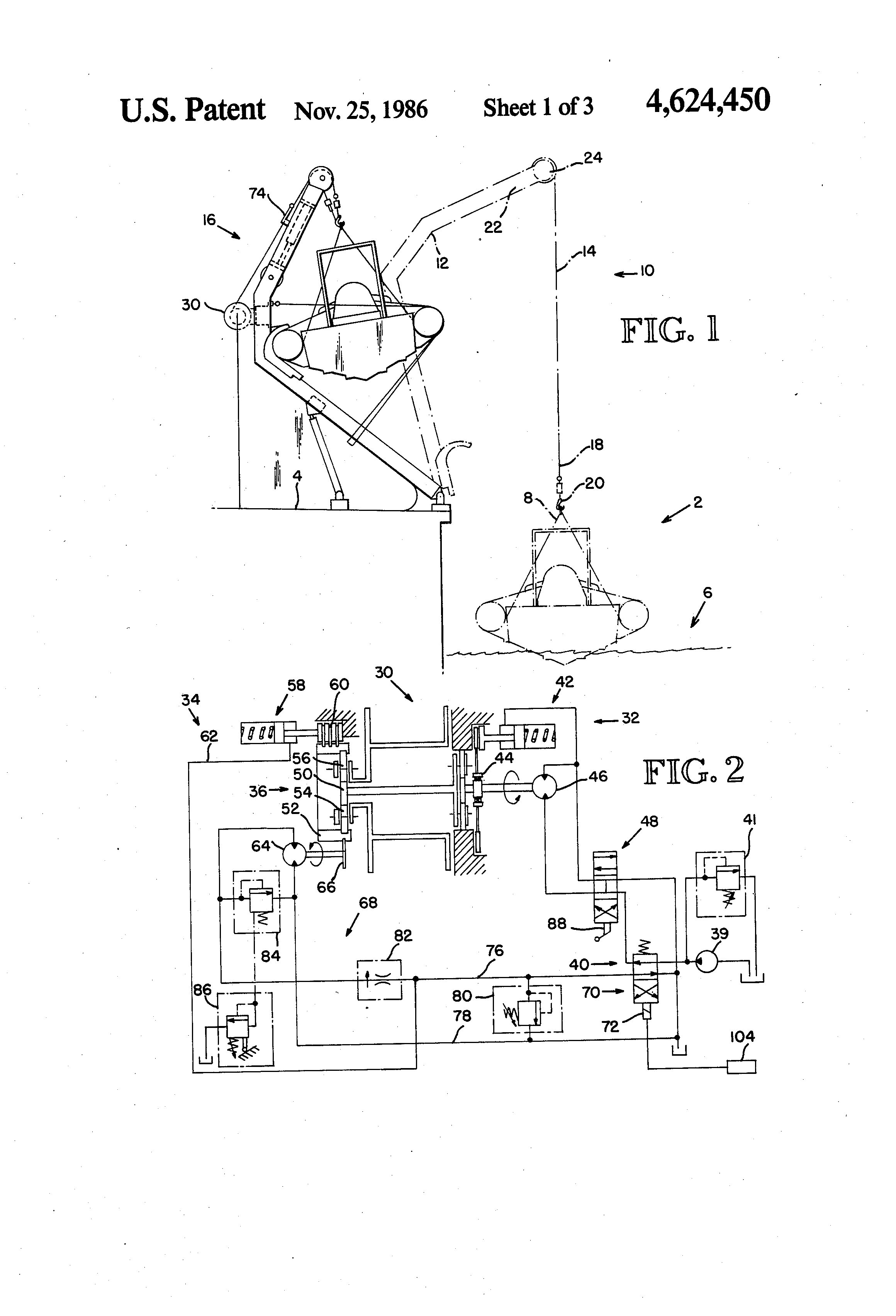 Patent Us4624450 Constant Tension Hoisting System