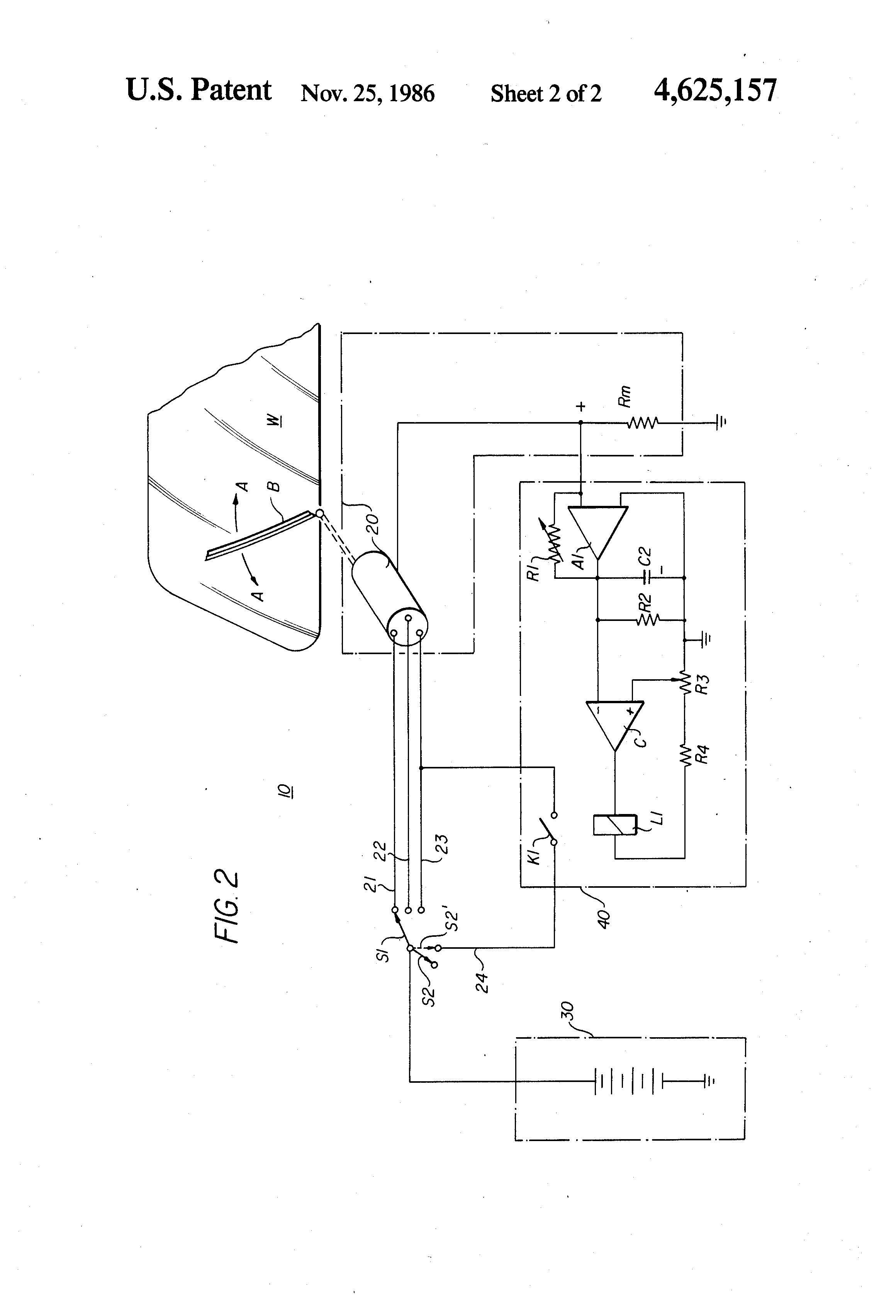 patent us4625157 - windshield wiper control