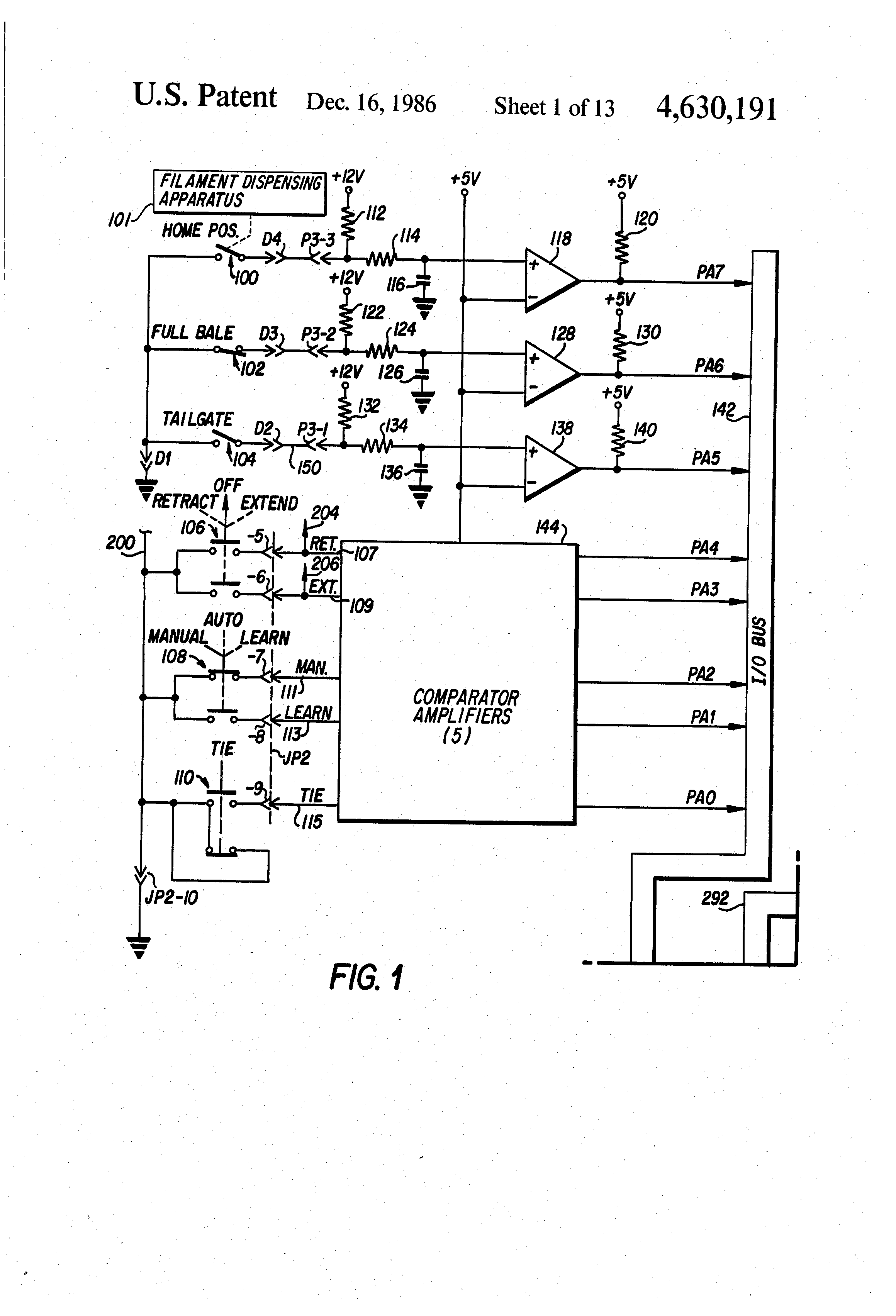 patent us4630191 automatic baler with operator controlled diagnostics patents