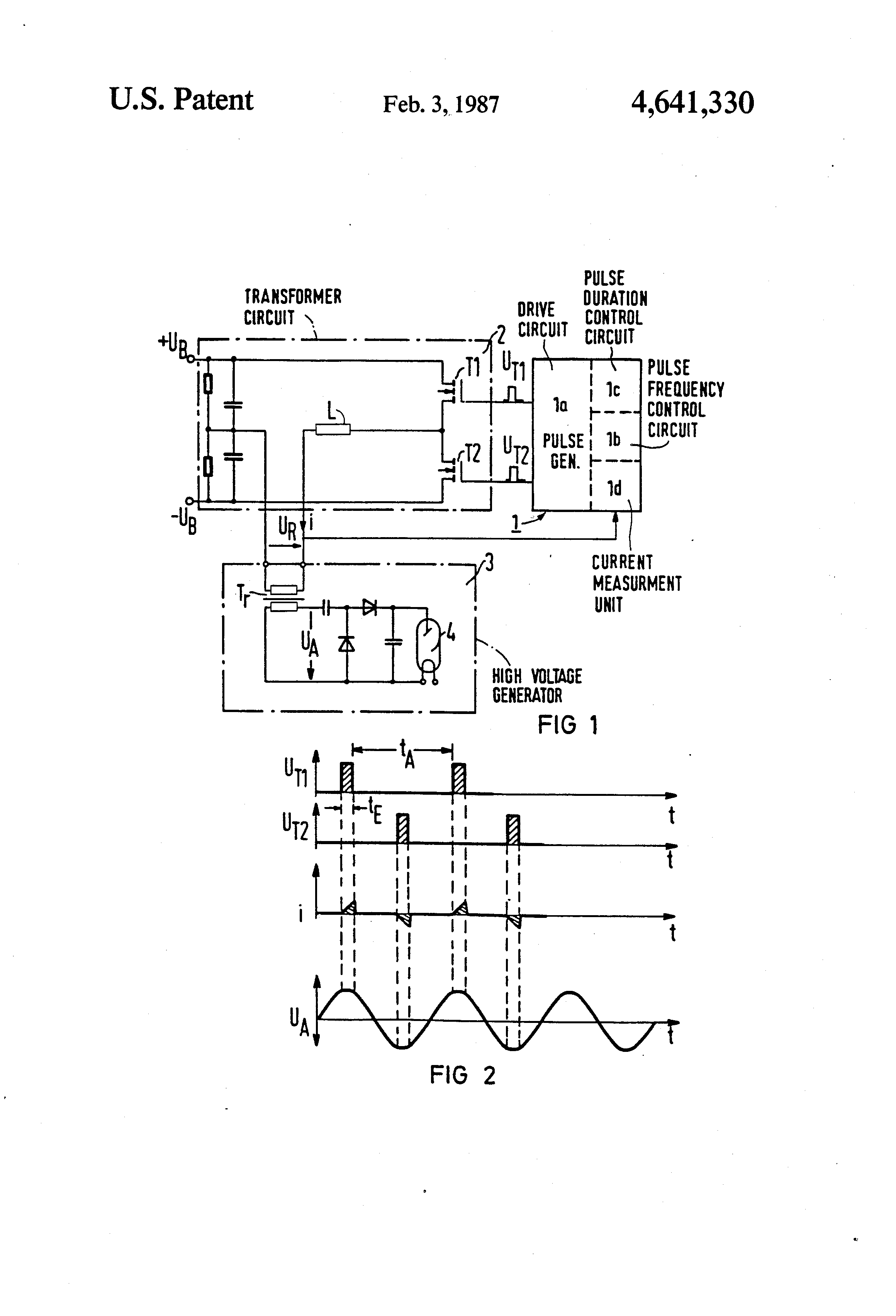 patent us4641330 - high voltage supply circuit for an x-ray tube