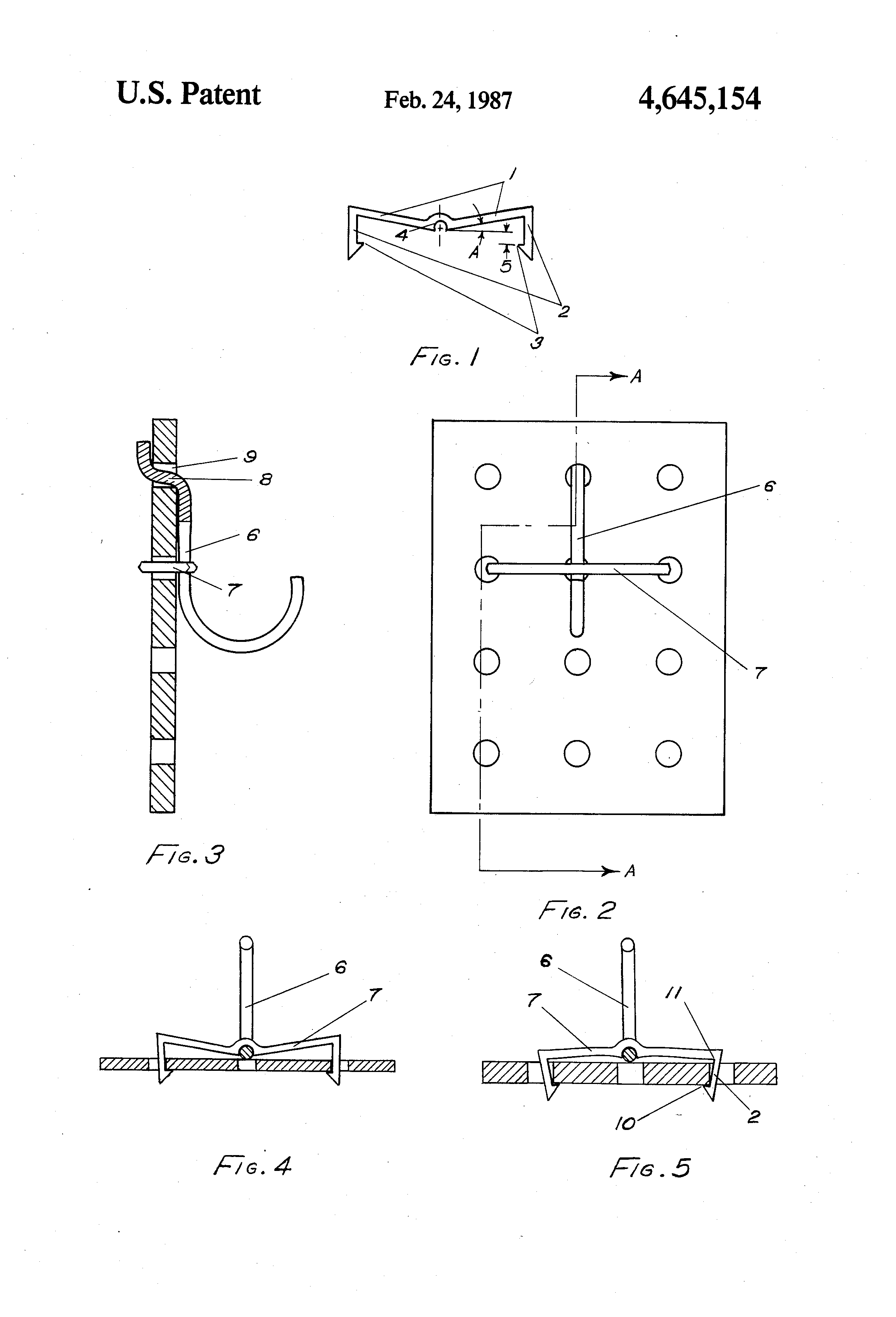 Patent US4645154 - Retaining clip for peg board hook - Google Patents