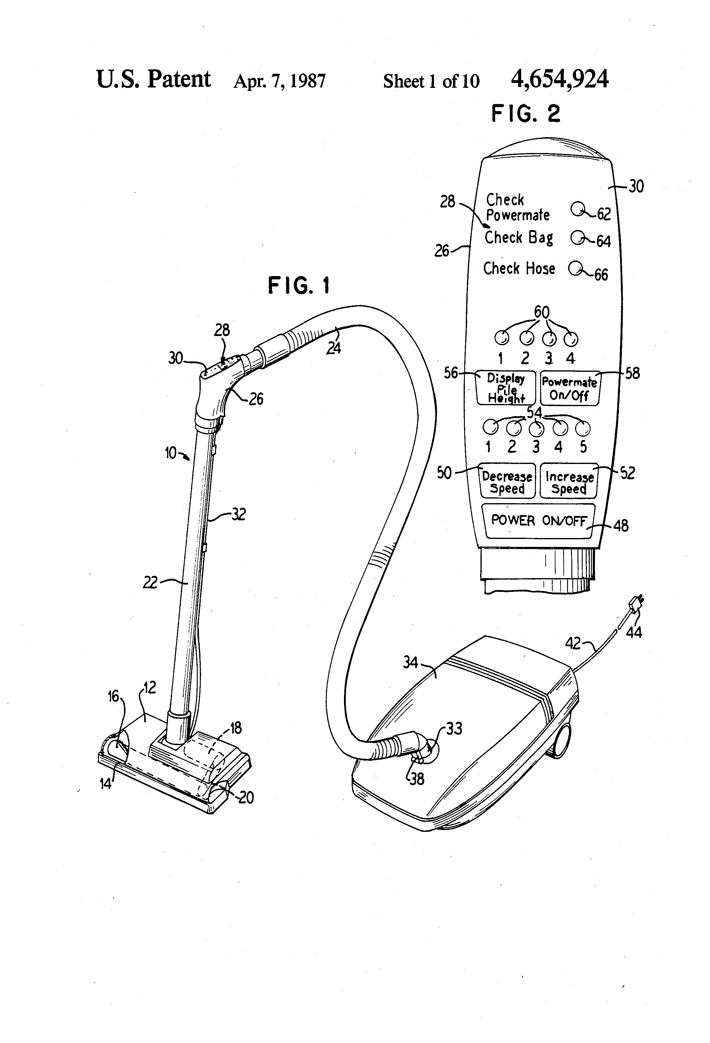 Patent US4654924 Microcomputer control system for a canister – Royal Vacuum Cleaner Wiring Diagram