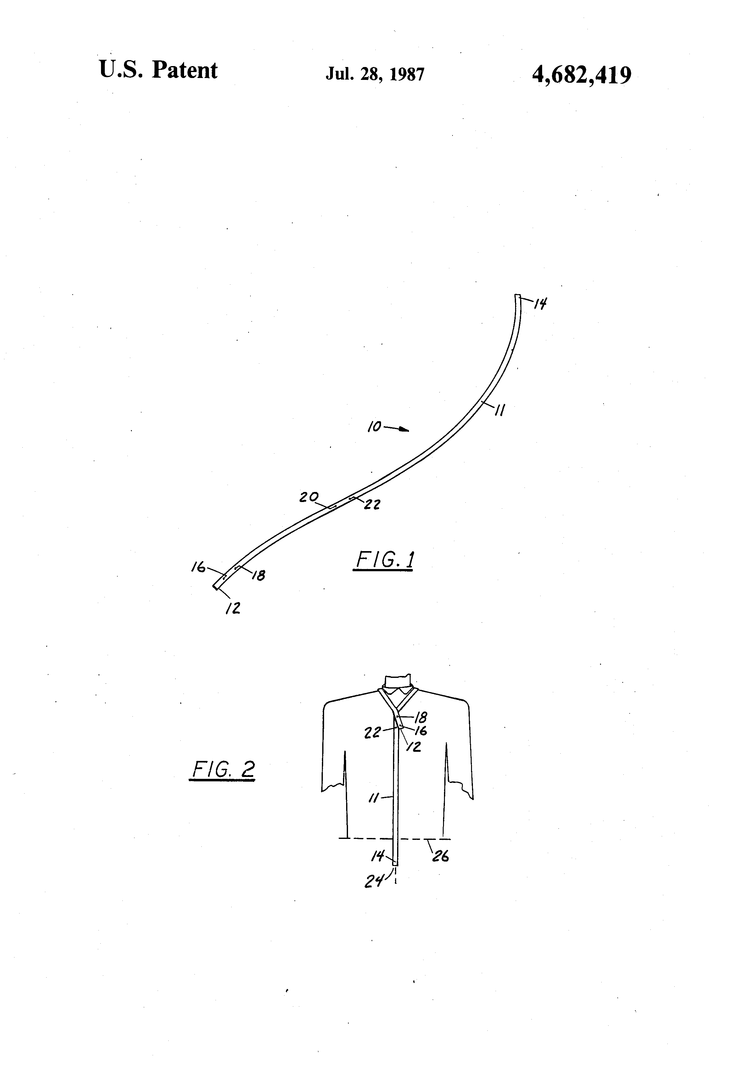Patent Us4682419 Necktie Tying Gauge Google Patents Tie Diagram Drawing