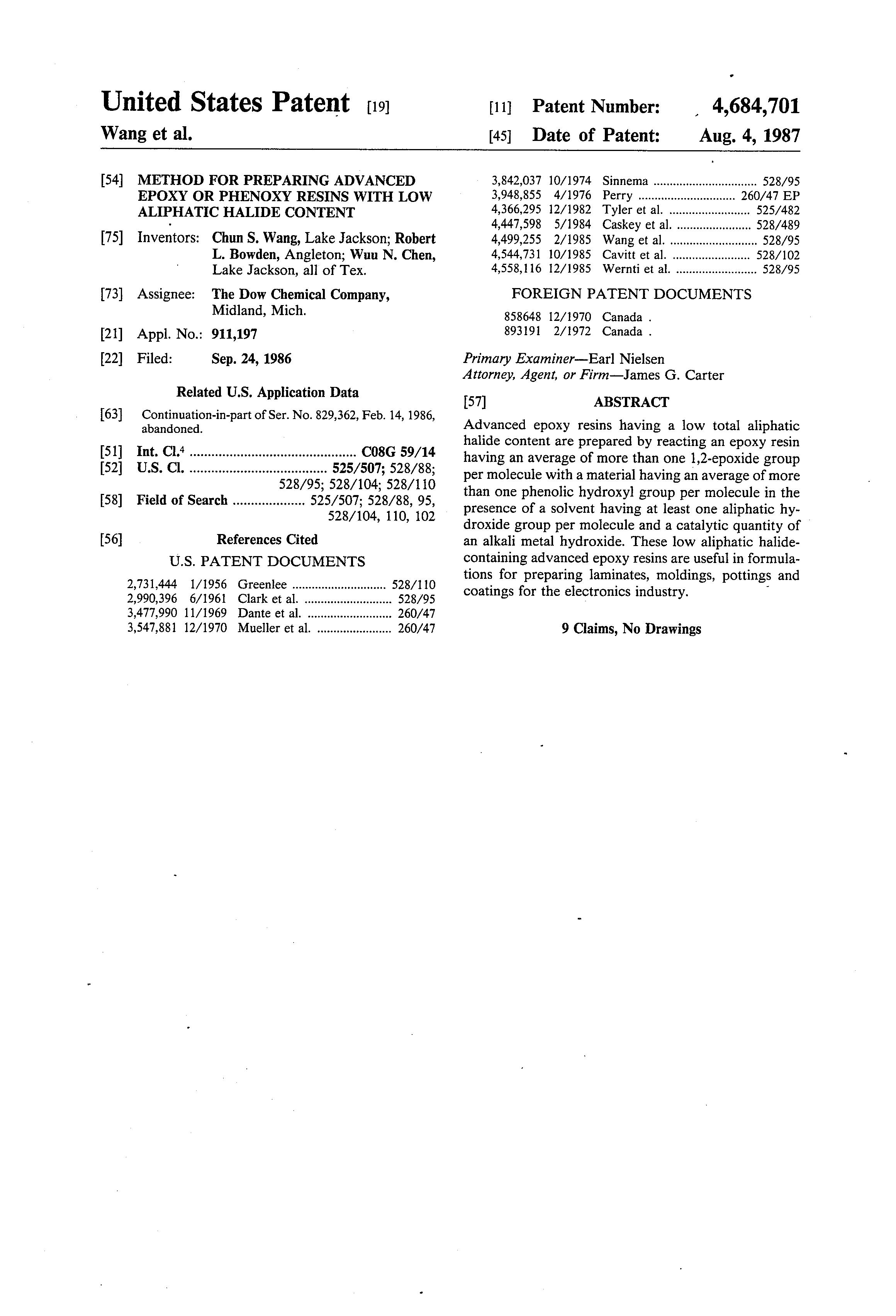 Patent US4684701 - Method for preparing advanced epoxy or phenoxy