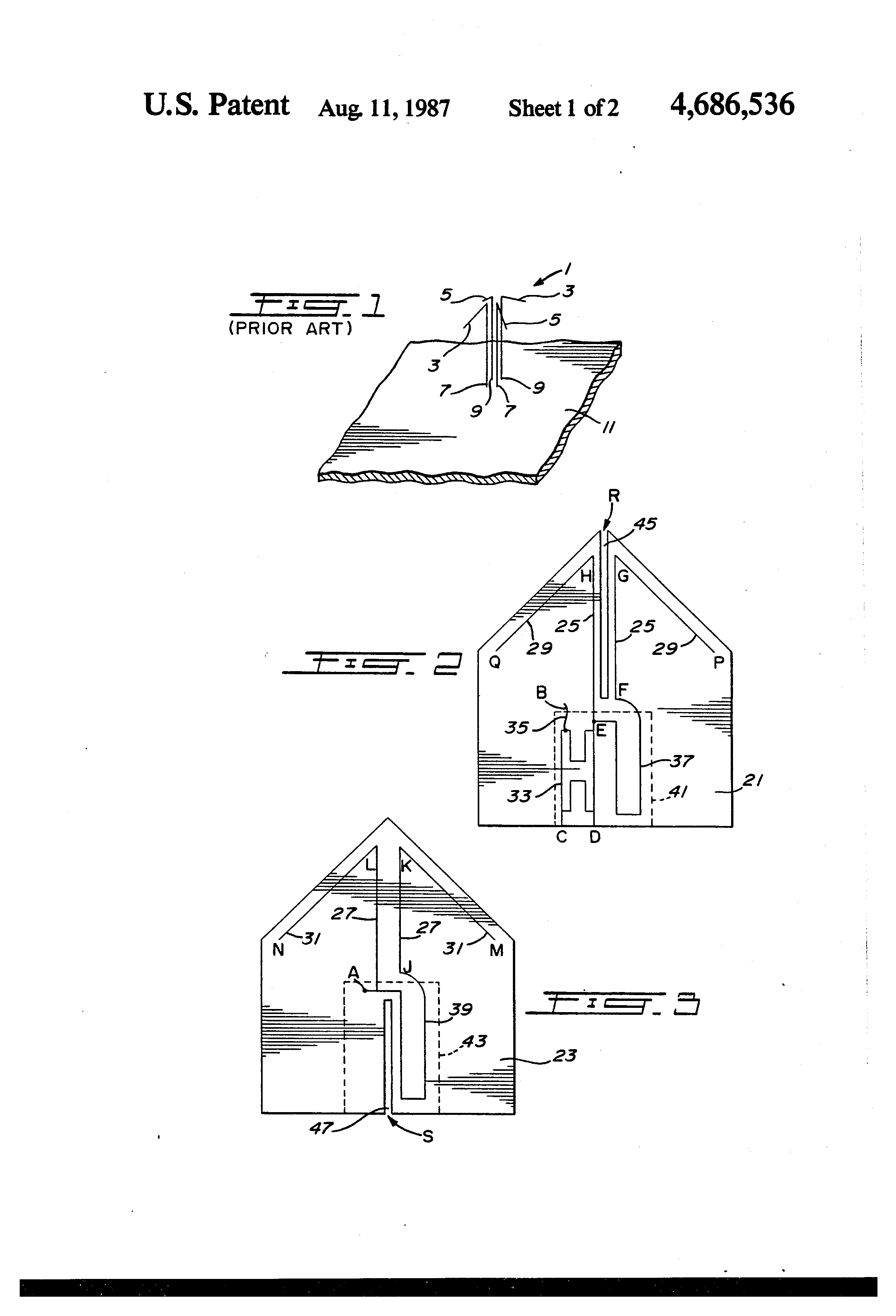 patent us4686536 - crossed-drooping dipole antenna