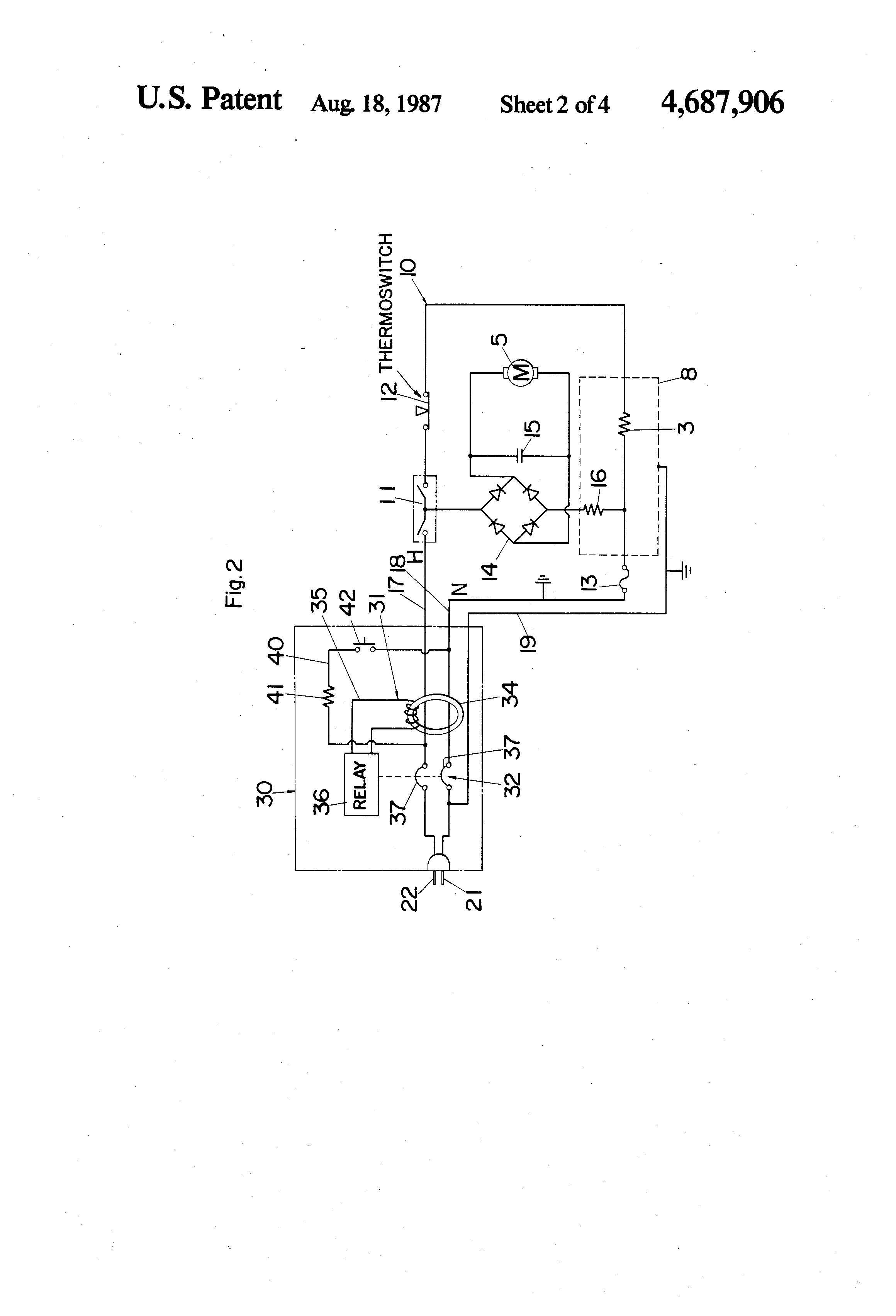 US4687906 2 patent us4687906 portable electric hair dryer with electric hair dryer wiring diagram at gsmportal.co