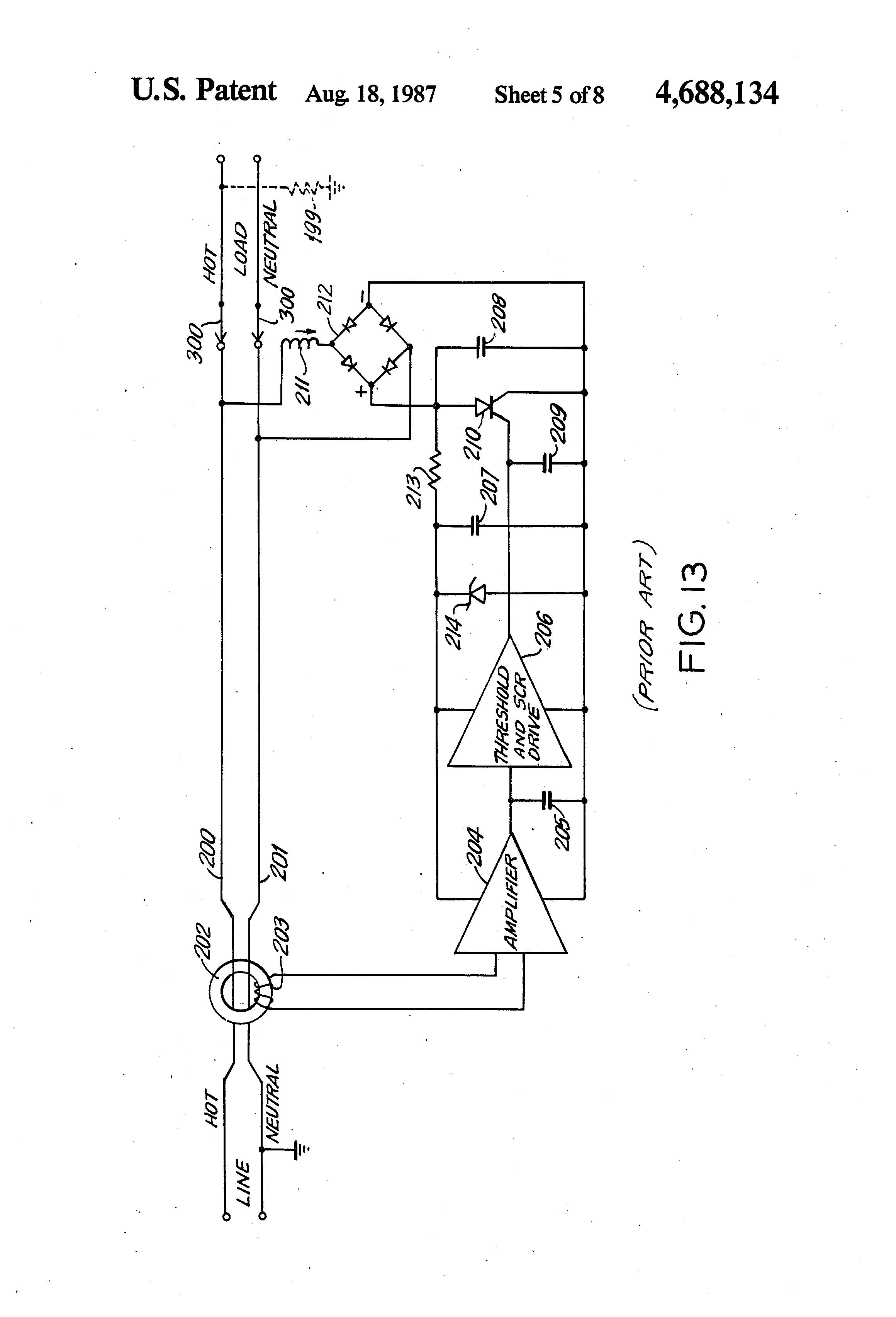patent us4688134 - ground fault circuit interrupter and electronic detection circuit