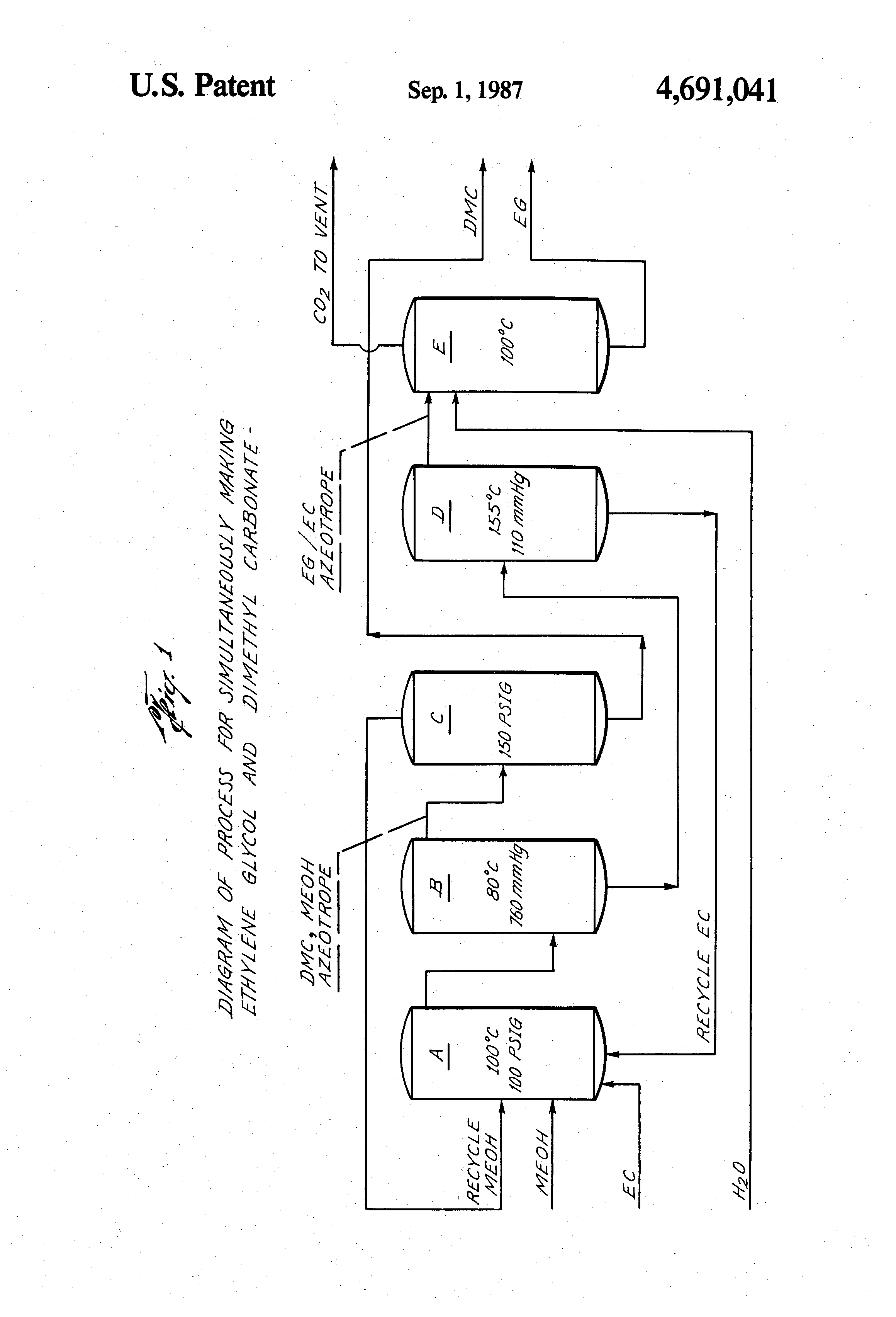 patent us4691041 - process for production of ethylene glycol and dimethyl carbonate