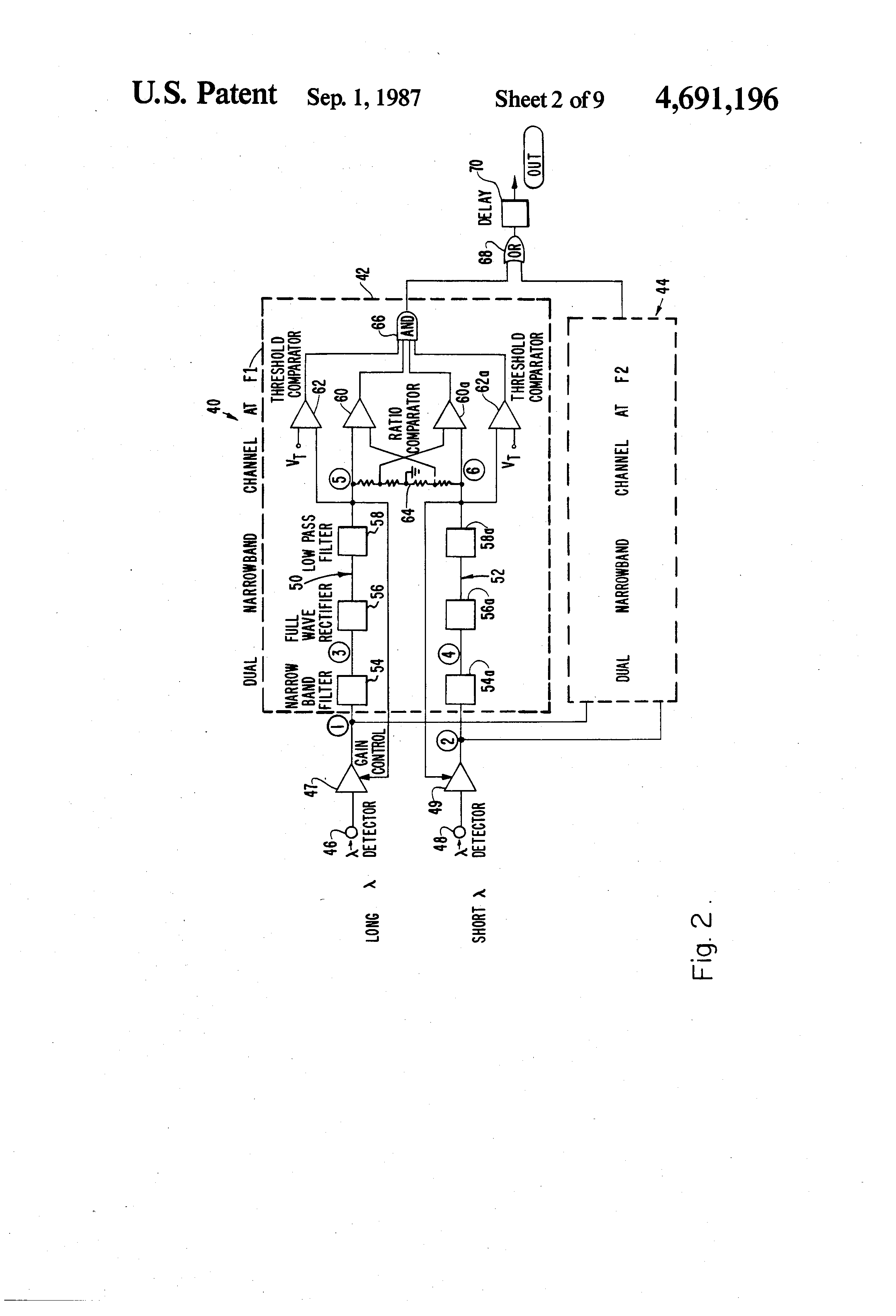 Patent Us4691196 Dual Spectrum Frequency Responding Fire Sensor Improved Infrared Detector Circuit Drawing