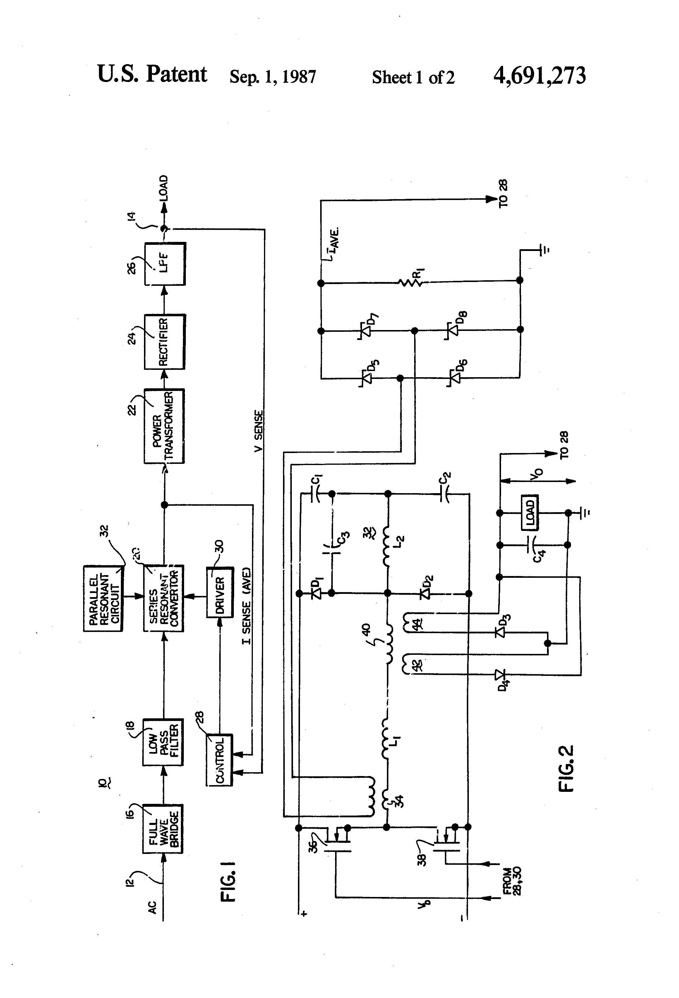 patent us4691273 - series resonant converter with parallel resonant circuit