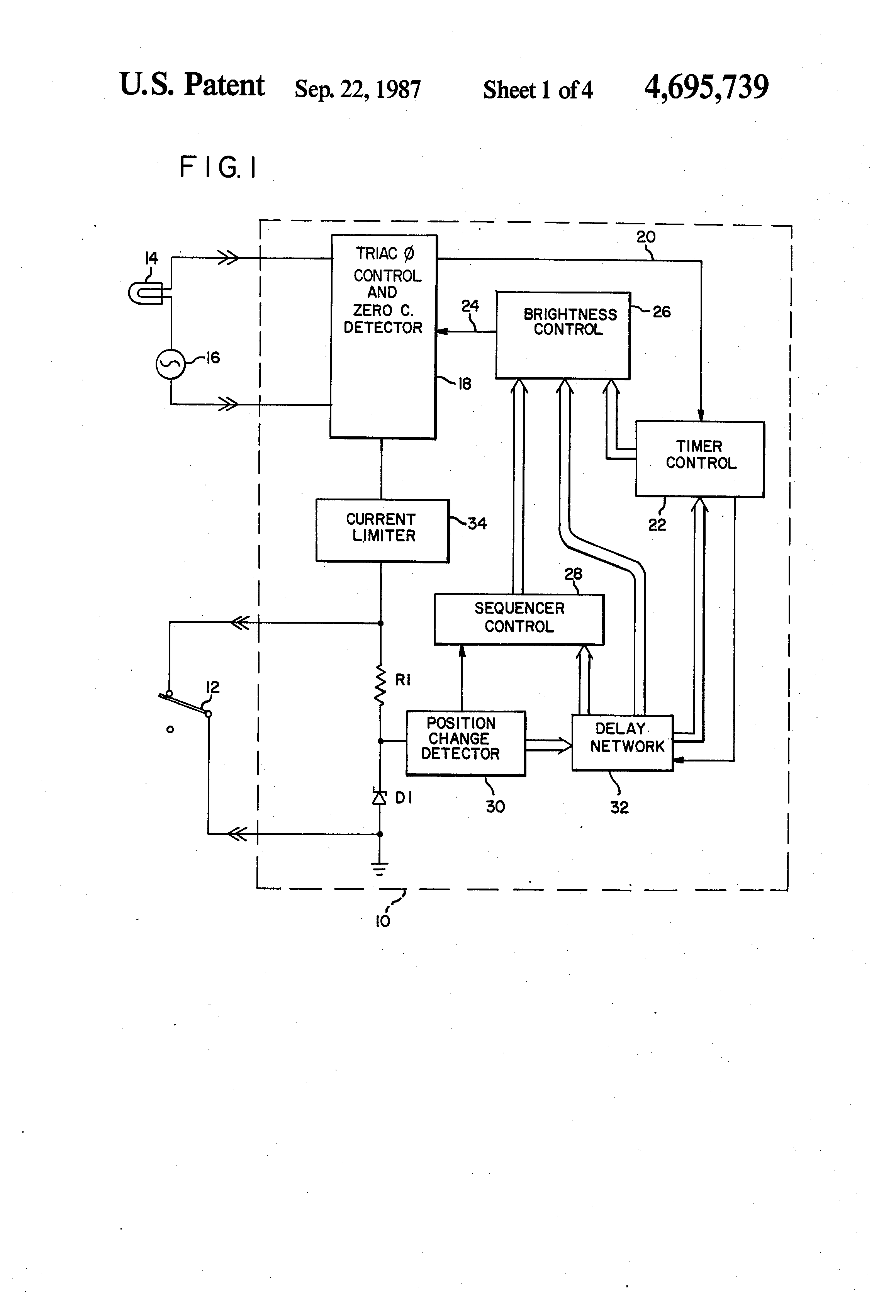brevet us4695739 - multi-function switch-controlled lamp circuit