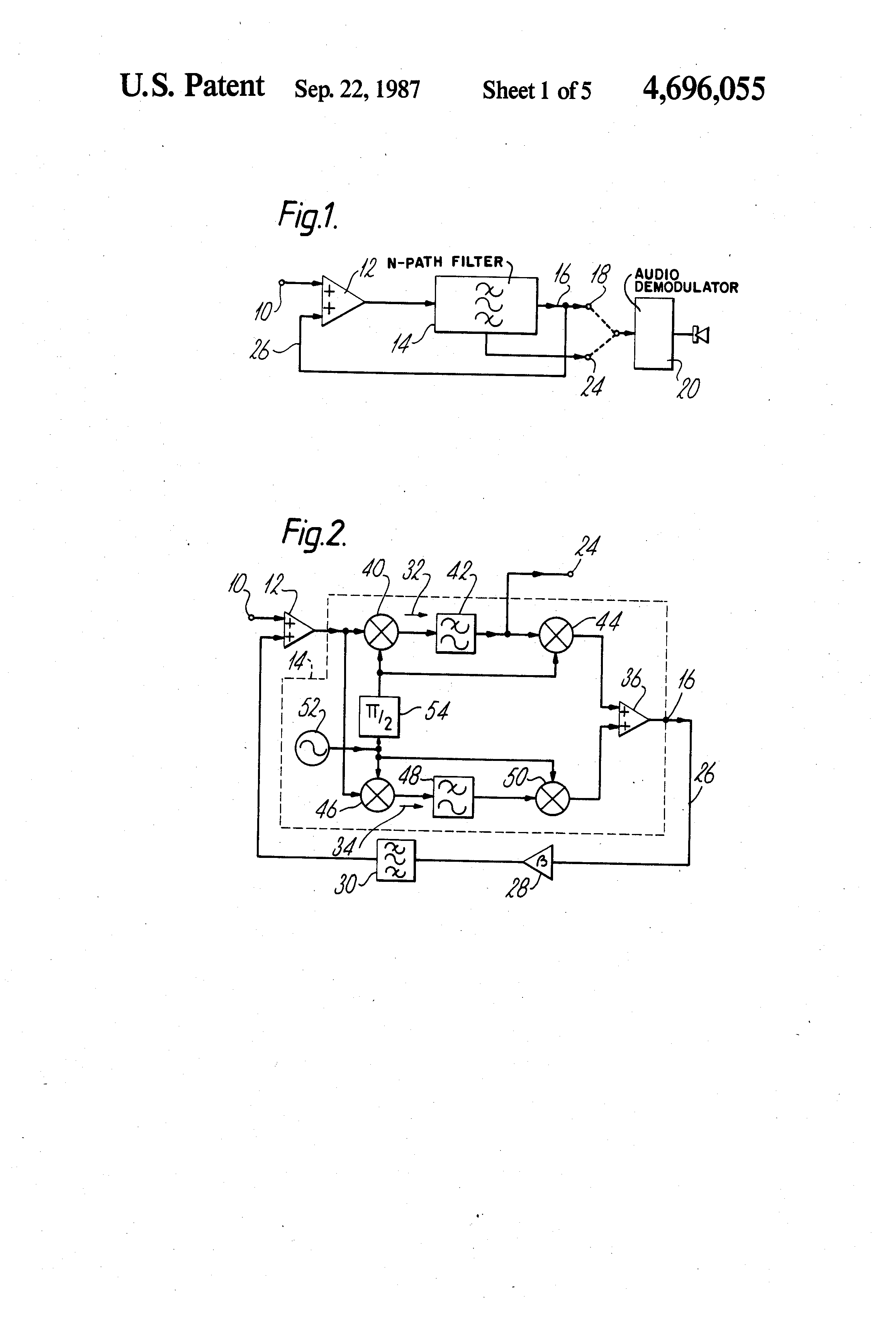 Patent Us4696055 Rf Tuning Circuit Which Provides Image Frequency Notch Filter Diagram Electronic Diagrams Drawing