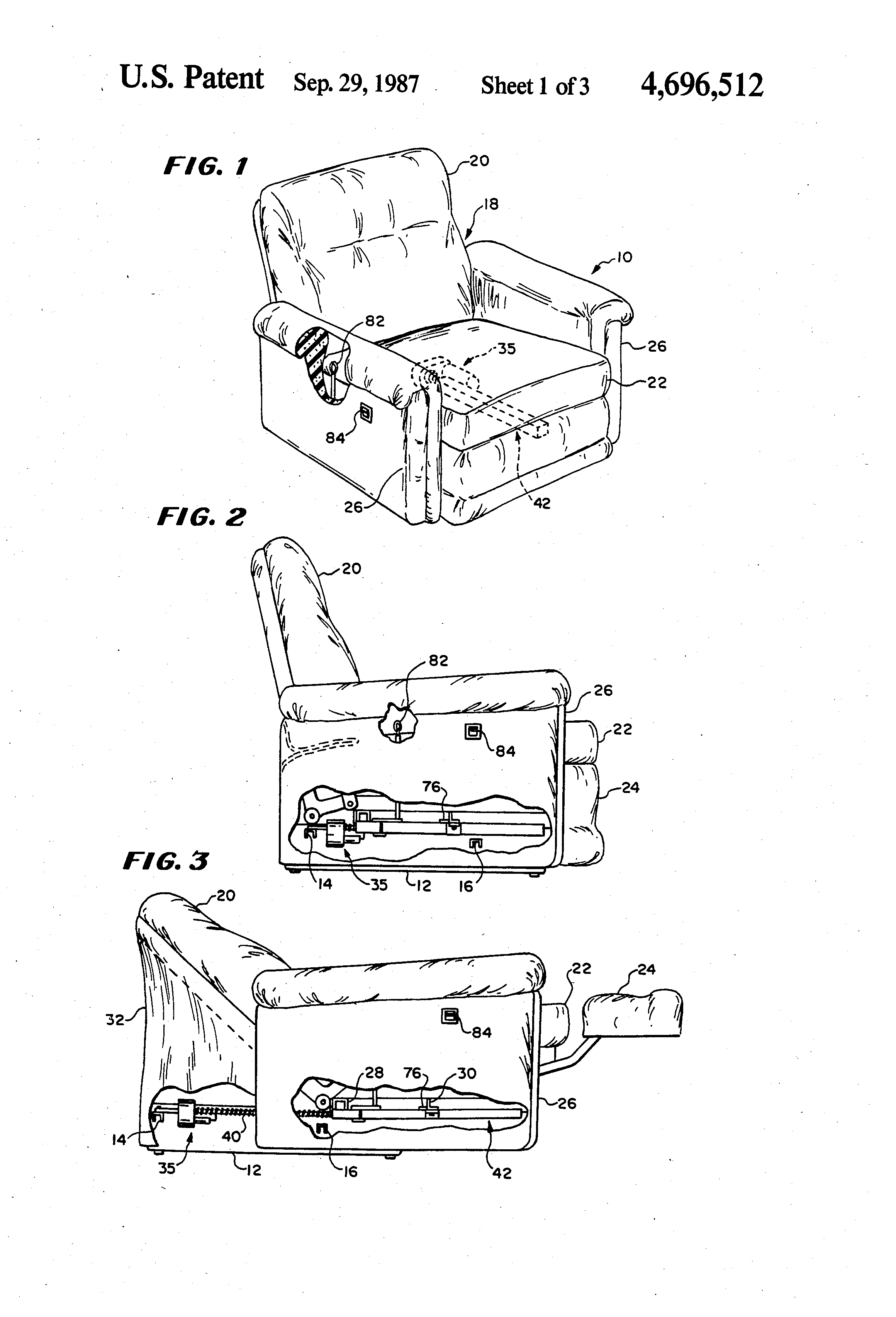 Patent Drawing  sc 1 st  Google & Patent US4696512 - Motorized recliner chair with release mechanism ... islam-shia.org