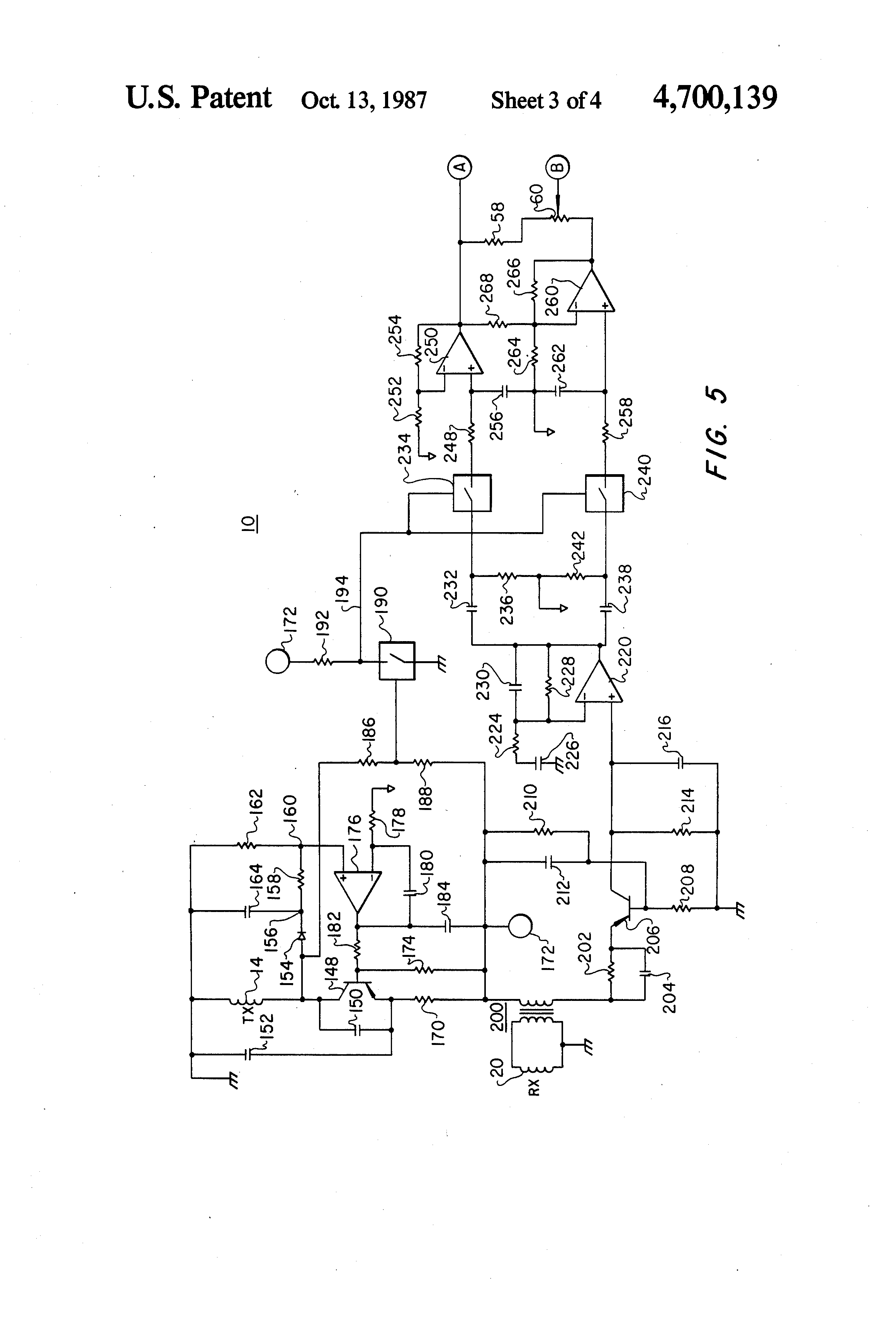 metal detector circuit having selectable exclusion range for