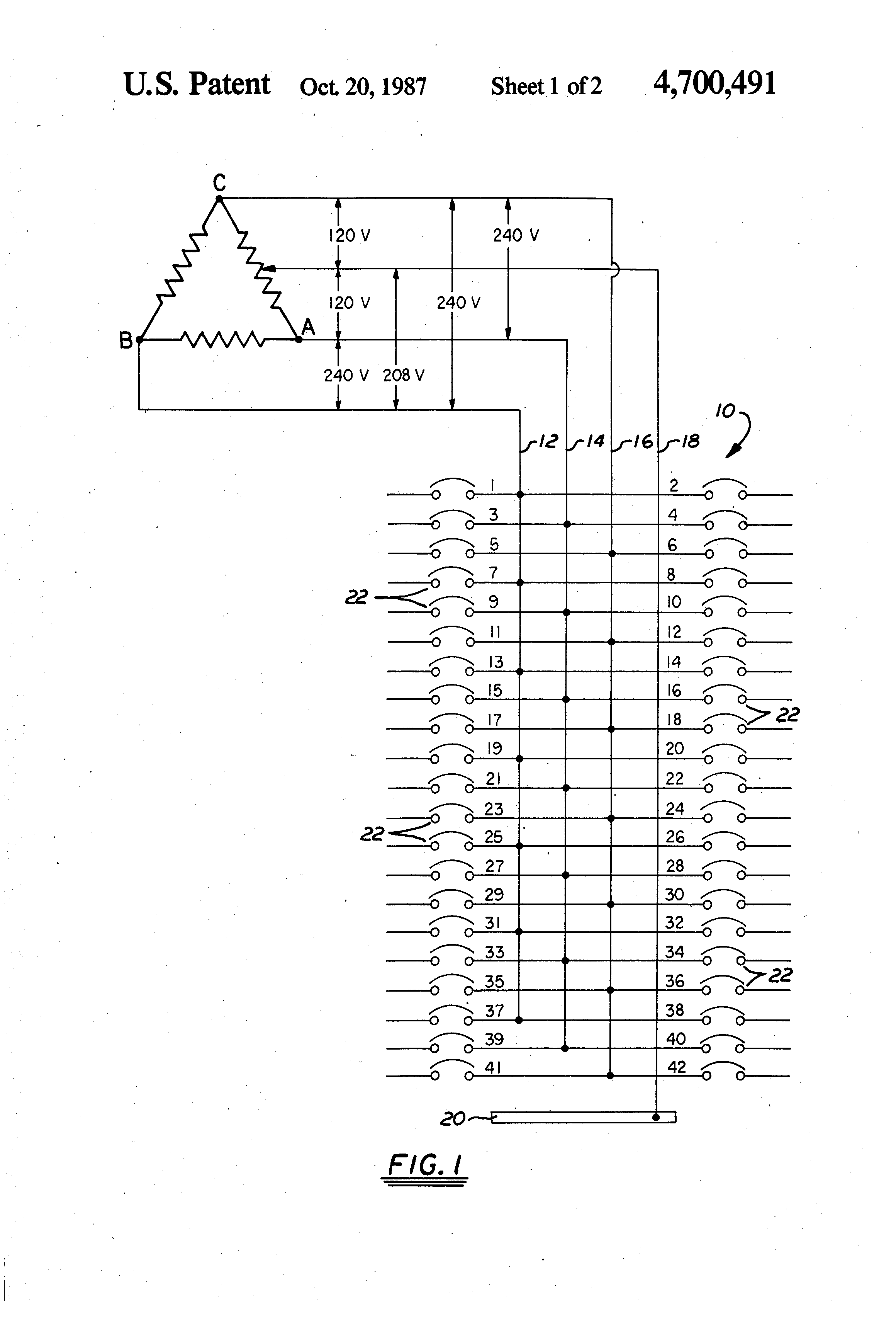 patent us4700491 - color-coded ruler for three-phase wiring