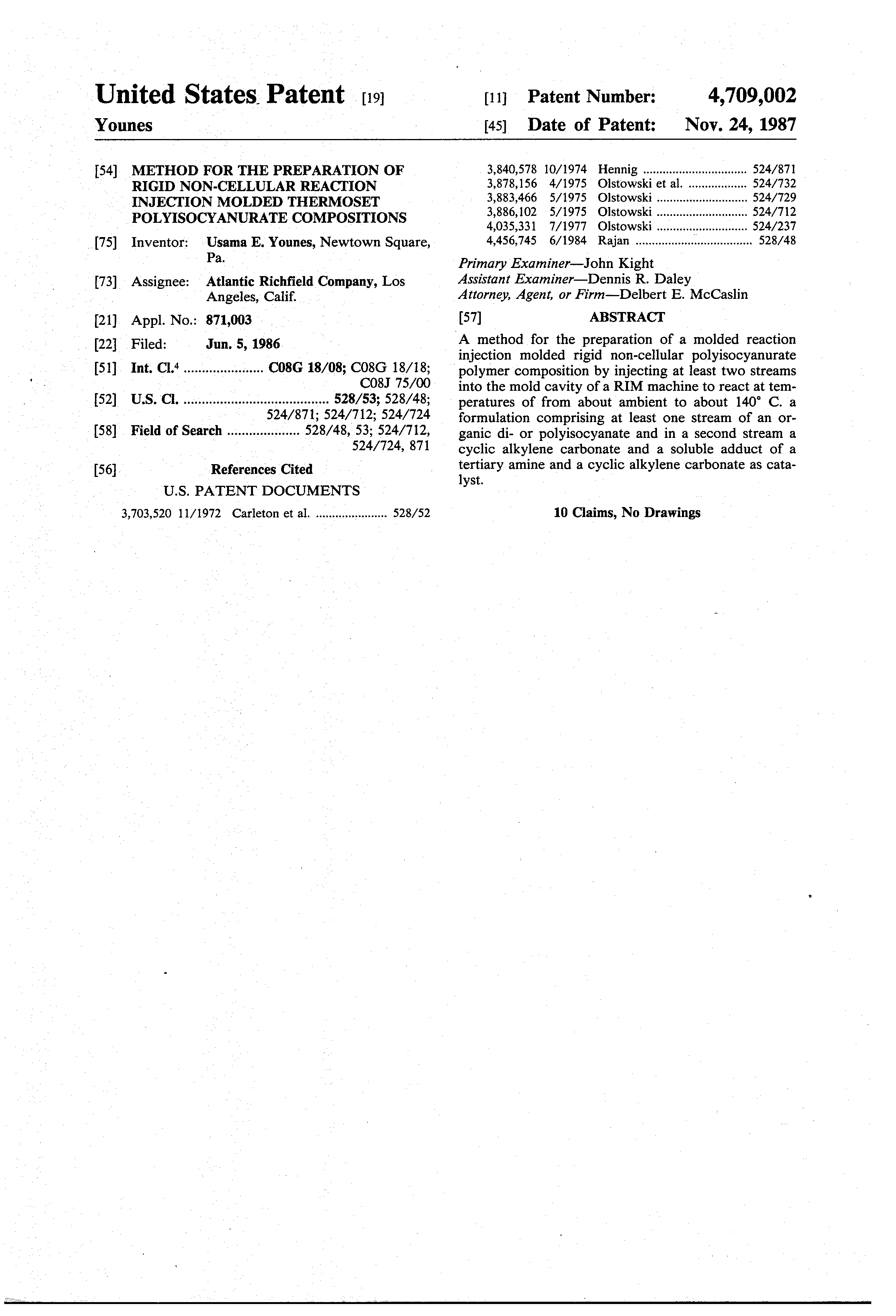 Patent US4709002 - Method for the preparation of rigid non-cellular