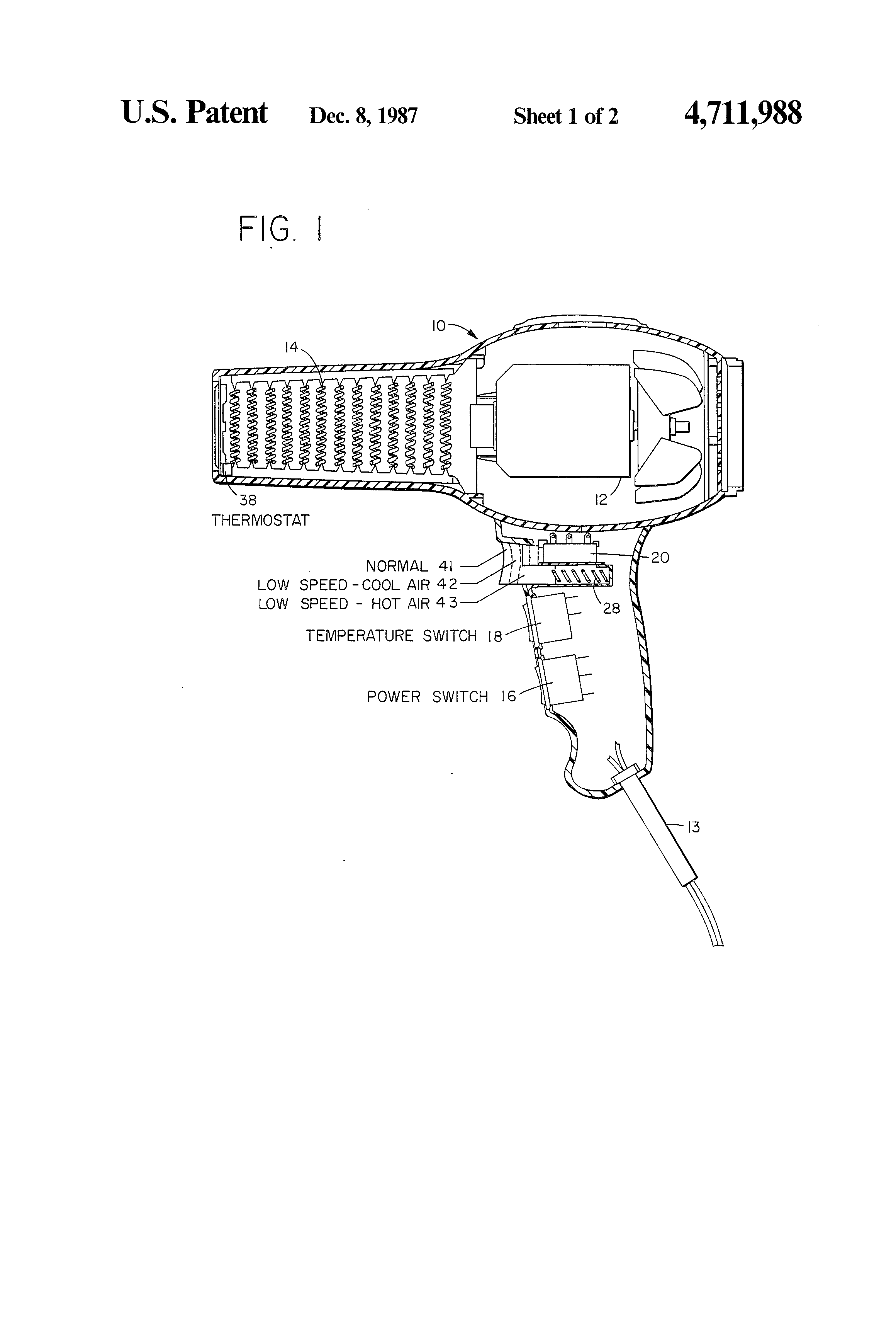 patent us4711988 electric hair dryer multi mode switch for patent drawing