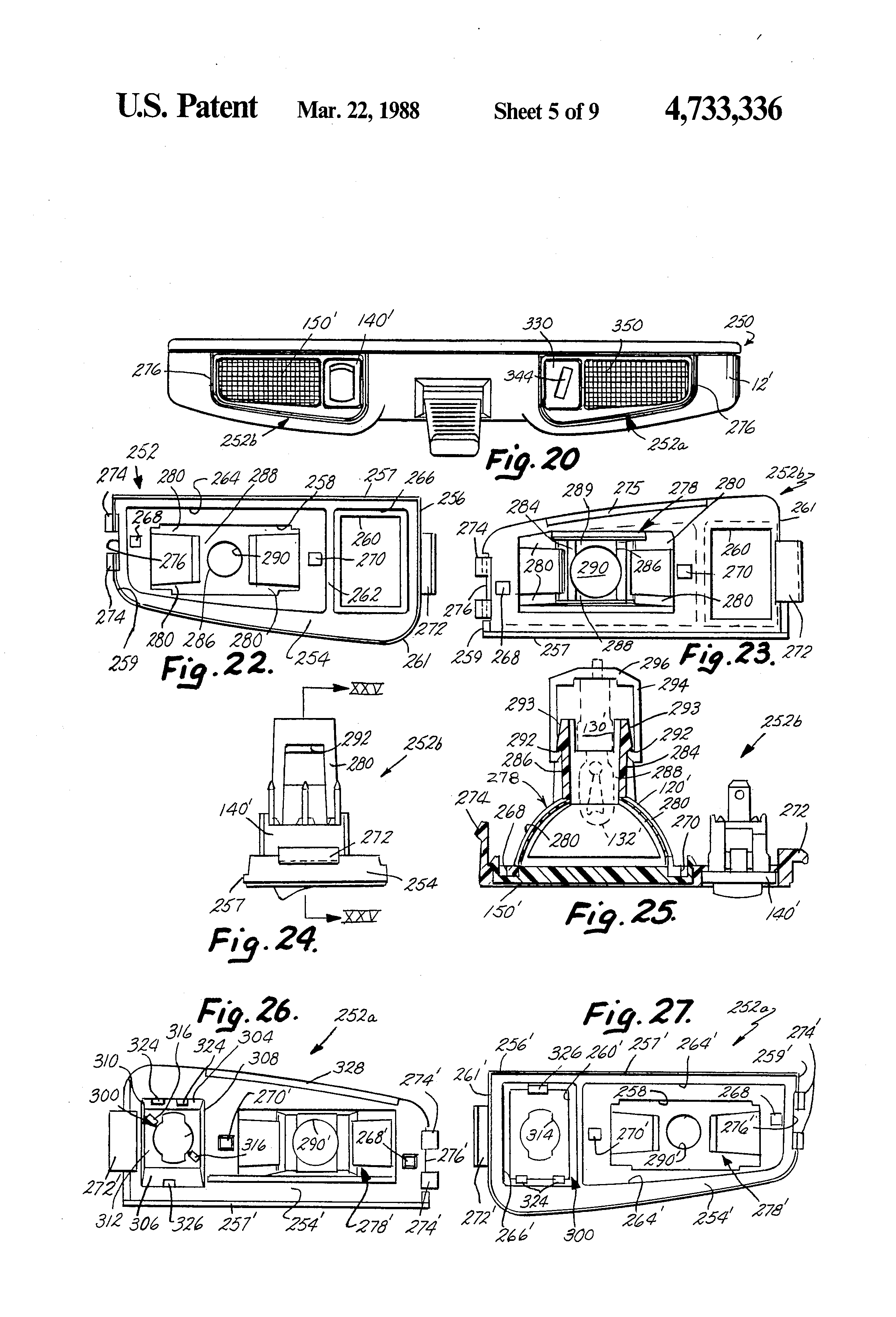 US4733336 6 patent us4733336 lighted information case assembly for rearview donnelly rear view mirror wiring diagram at crackthecode.co