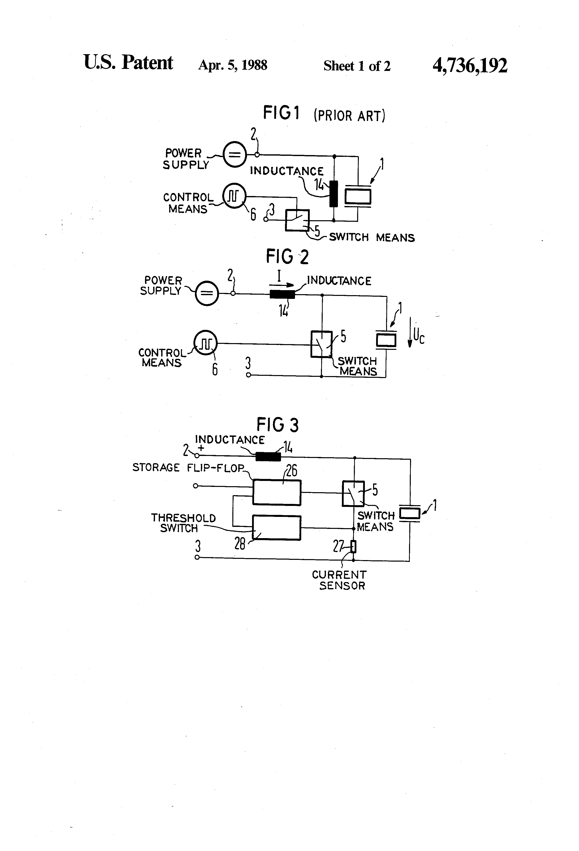 Patent Us4736192 Excitation Circuit For Piezo Electric Sound Switch Drawing